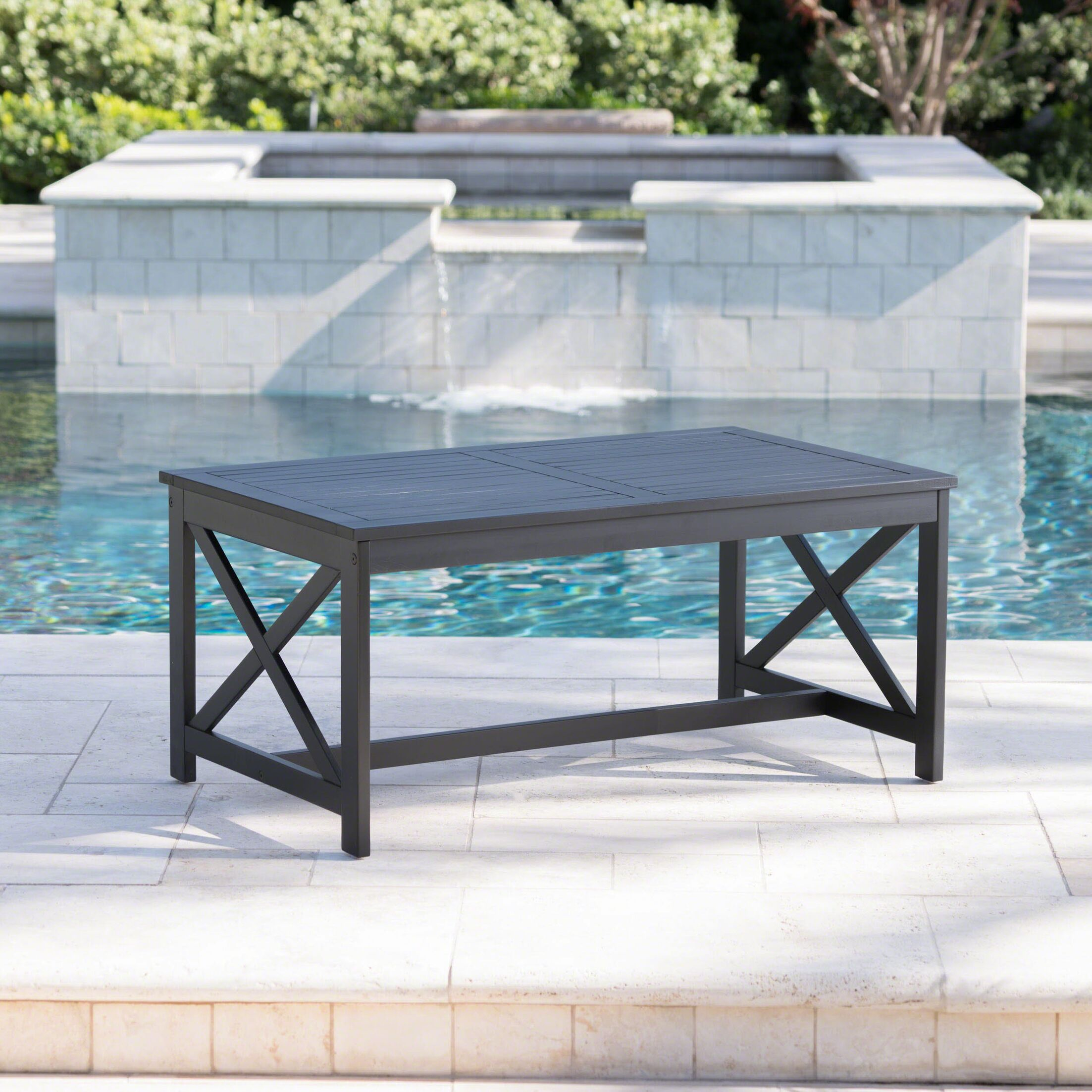 Manns Wooden Coffee Table Color: Black