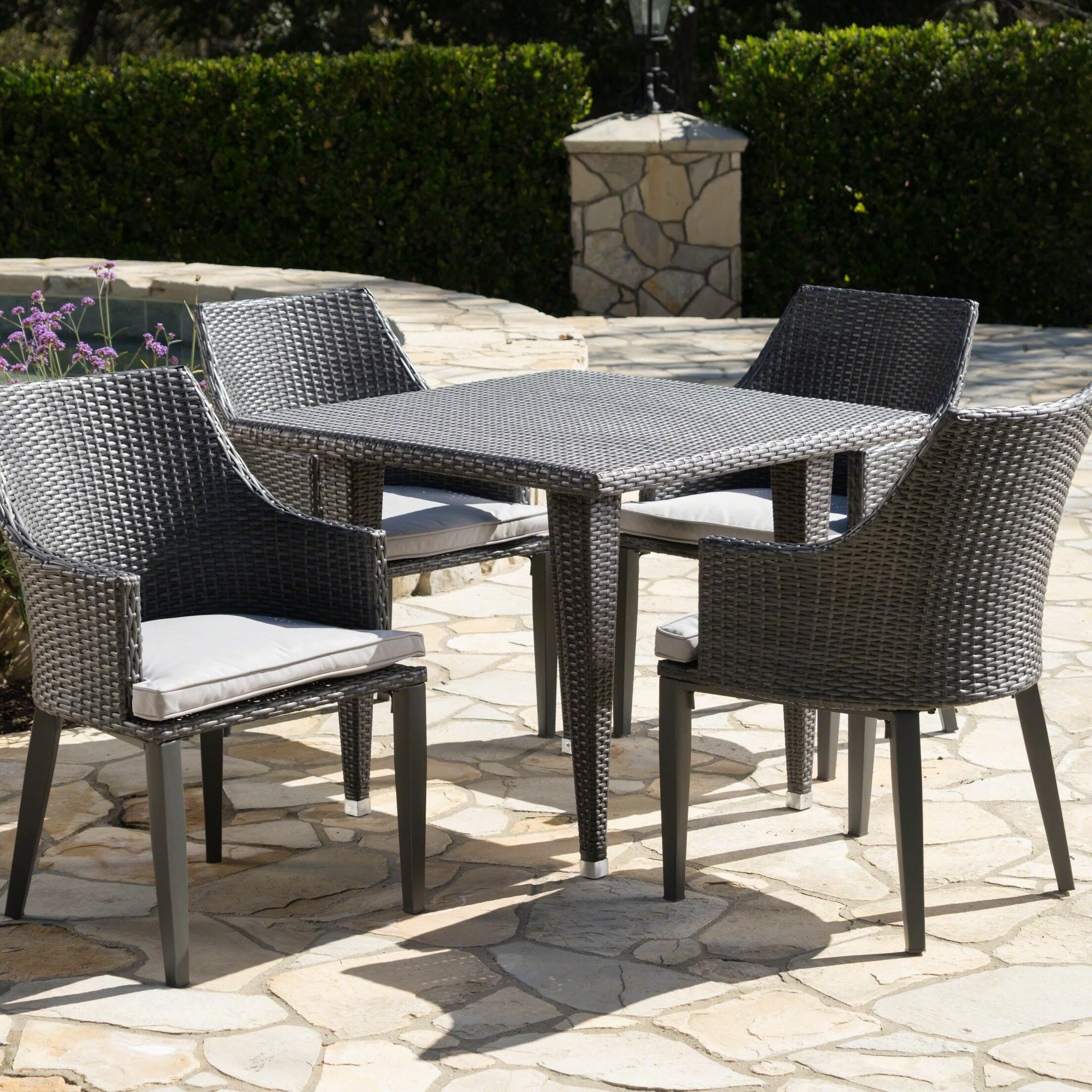 Schall 5 Piece Dining Set with Cushions Cushion Color: Light Gray