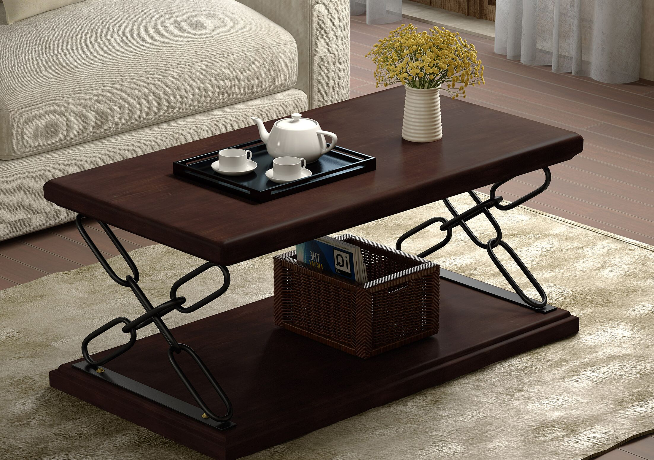 Krieger Coffee Table Color: Dark Walnut