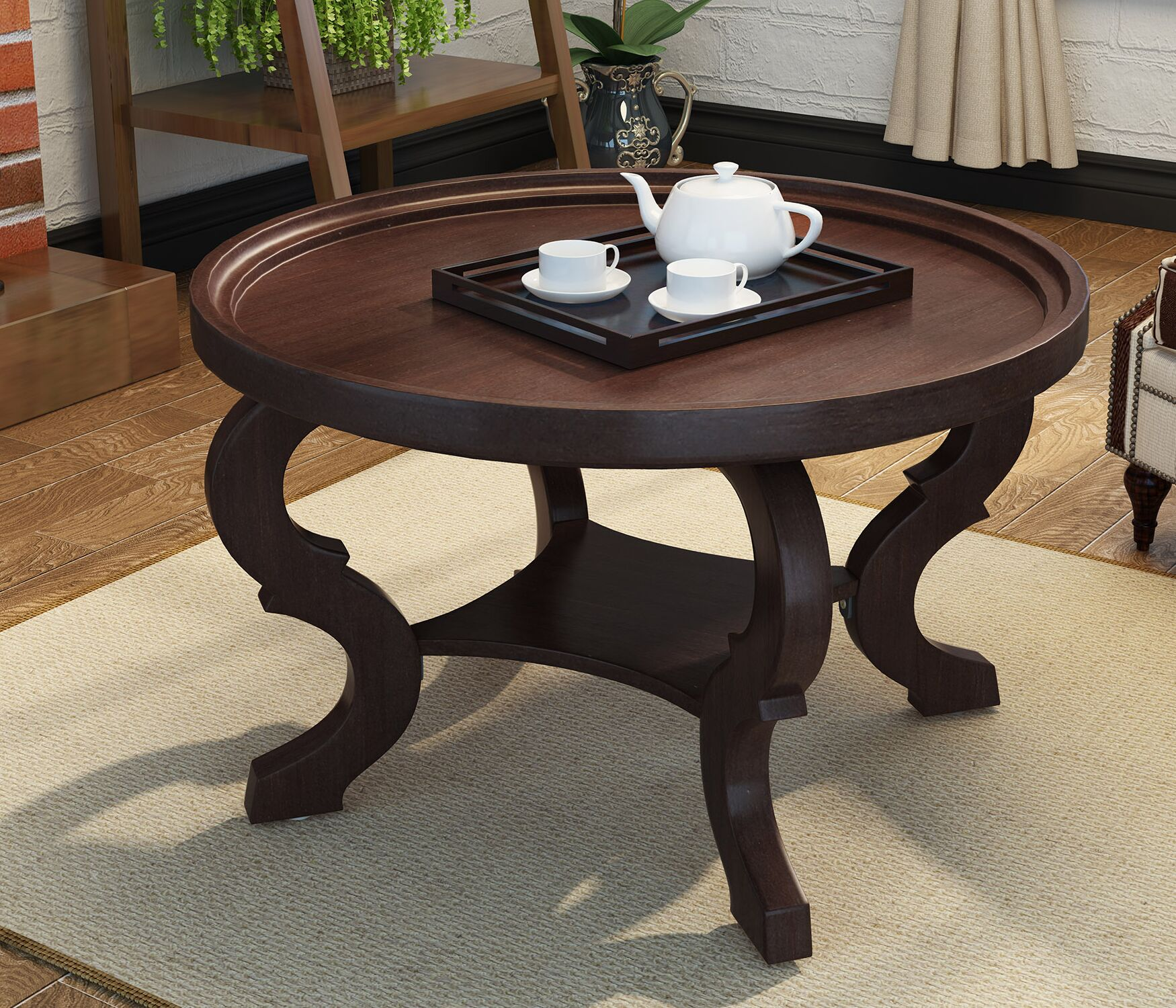 Feldt Circular Coffee Table Color: Dark Walnut