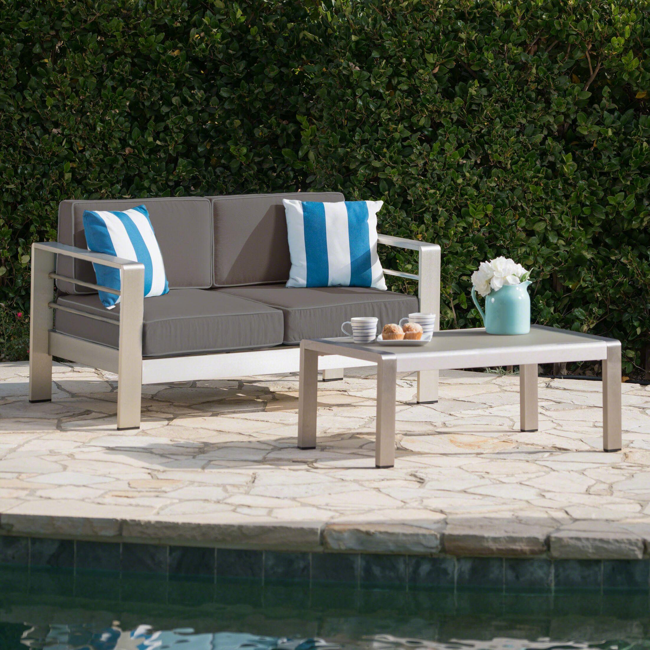 Orme 2 Piece Sofa Set with Cushions Frame Color: Gray, Cushion Color: Khaki