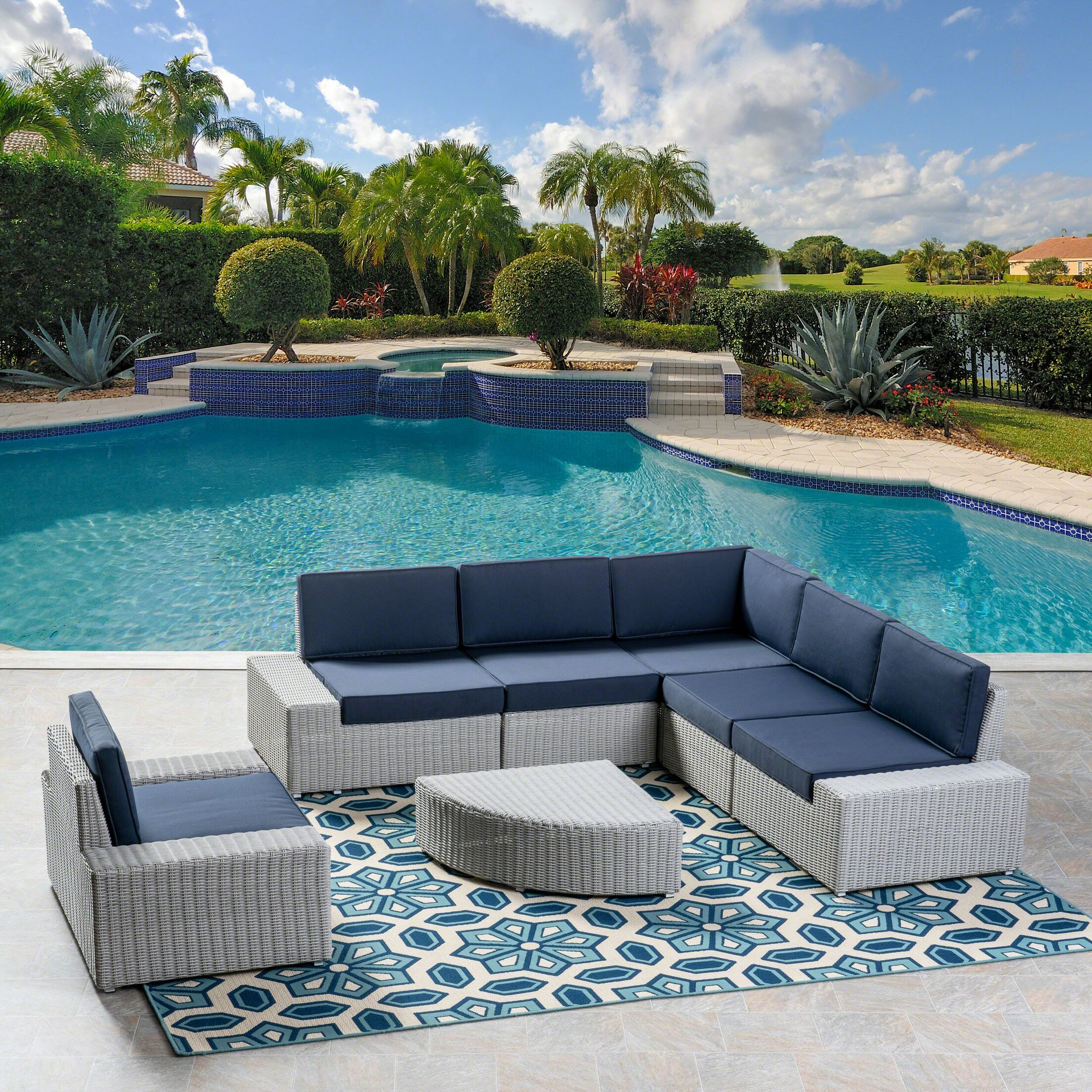 Glendon 6 Piece Rattan Sectional Set with Cushions Cushion Color: Navy Blue