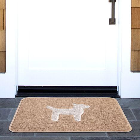 Dog Modern Door Mat Color: Latte