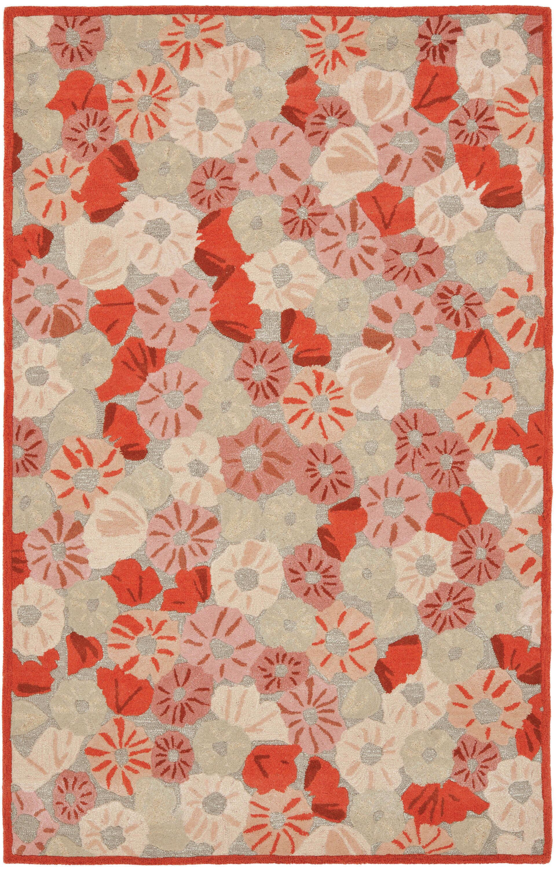 Poppy Field Hand-Tufted Cayenne Red Area Rug Rug Size: Rectangle 4' x 6'