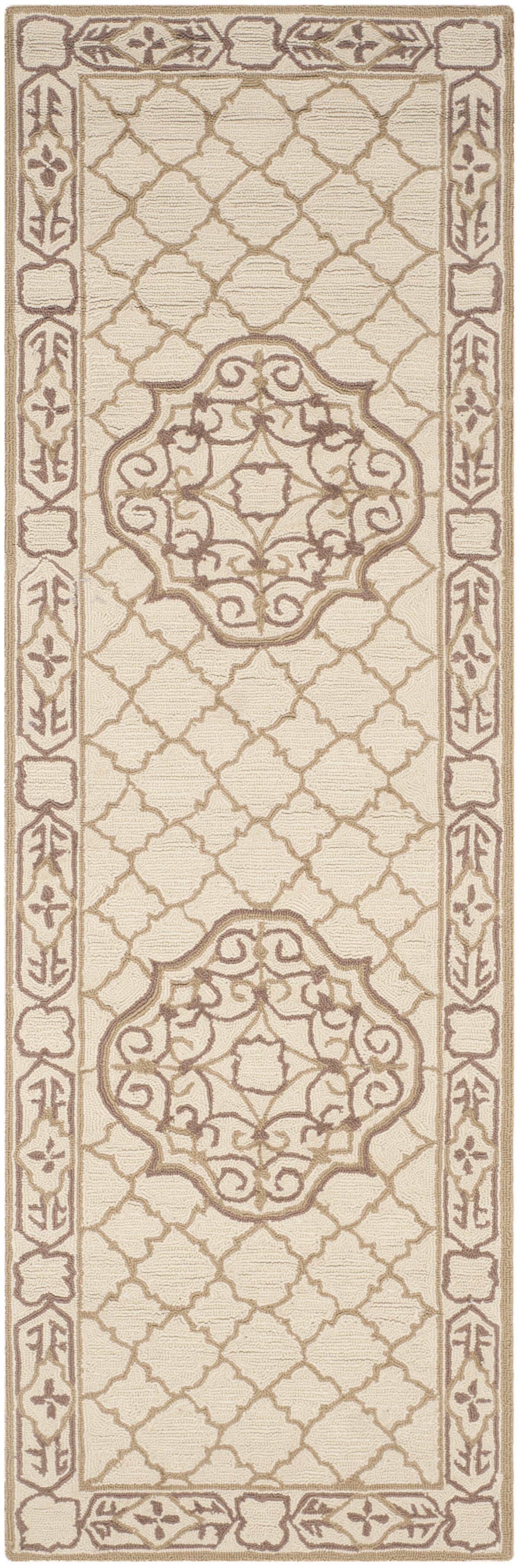Apache Hand-Hooked Ivory & Gold Area Rug Rug Size: Runner 2'6