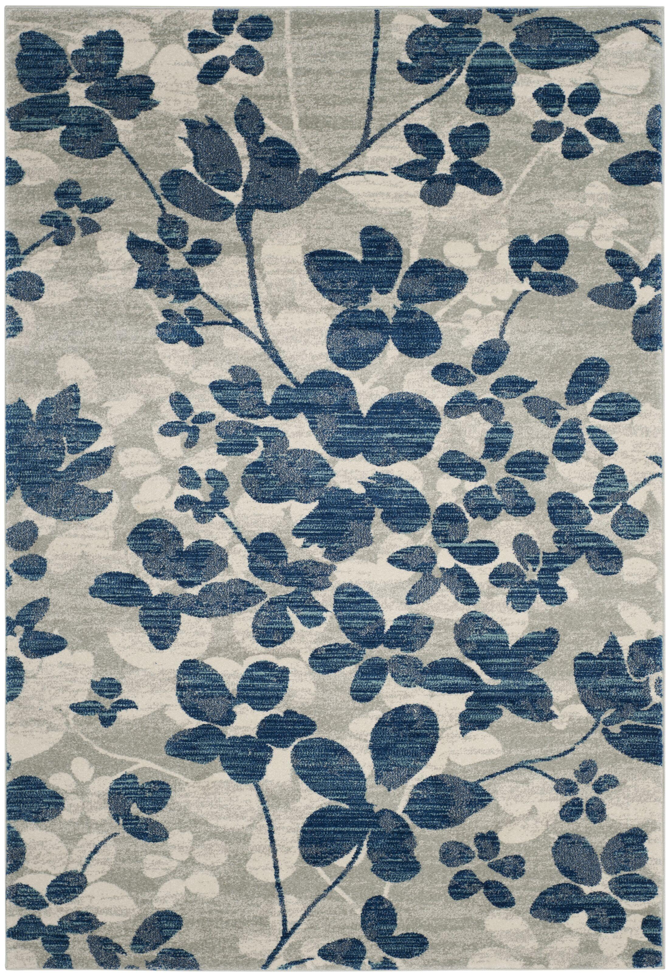 Aegean Gray/Light Blue Area Rug Rug Size: Rectangle 4' x 6'
