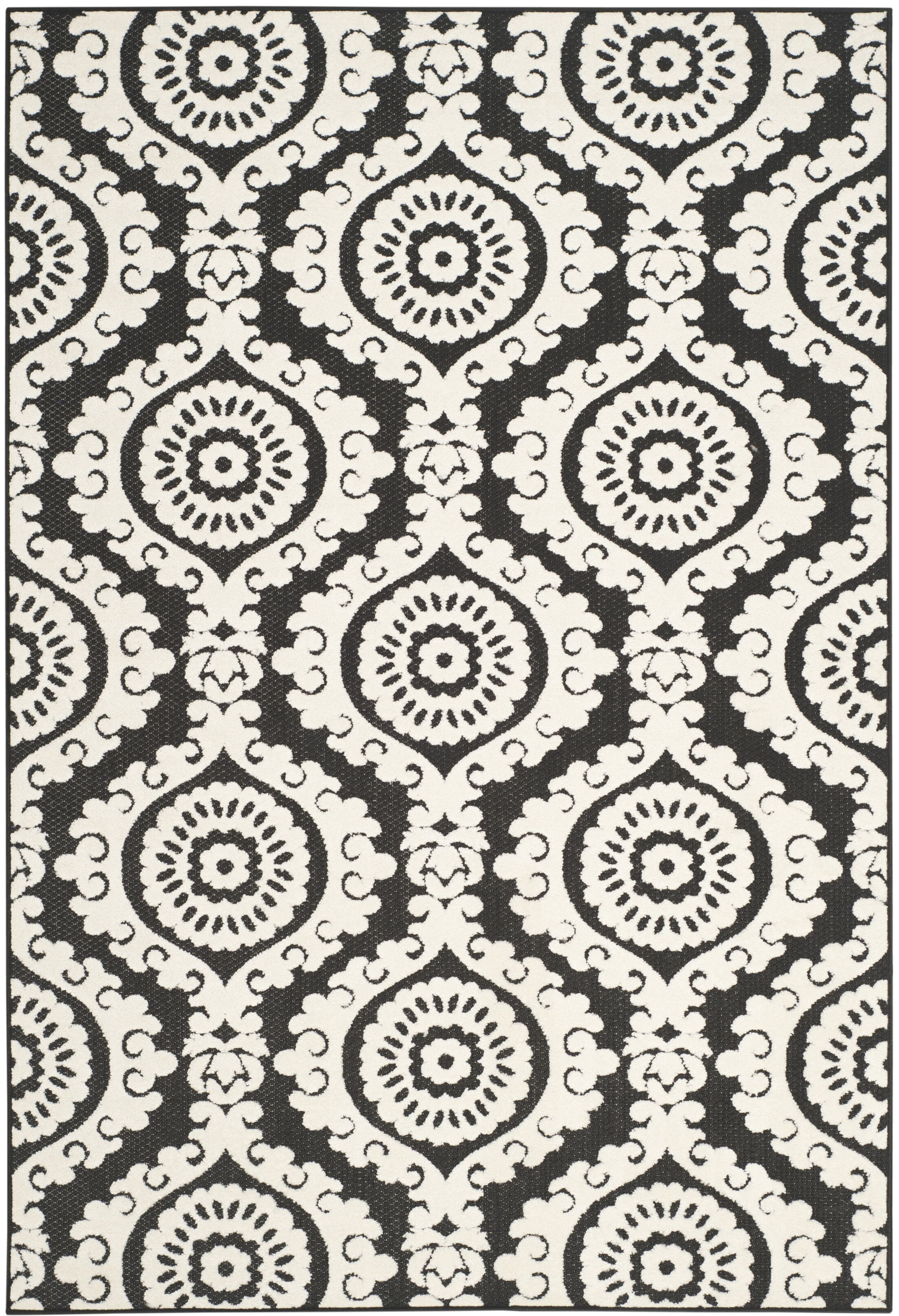 Deweese Black/Beige Area Rug Rug Size: Rectangle 5'3