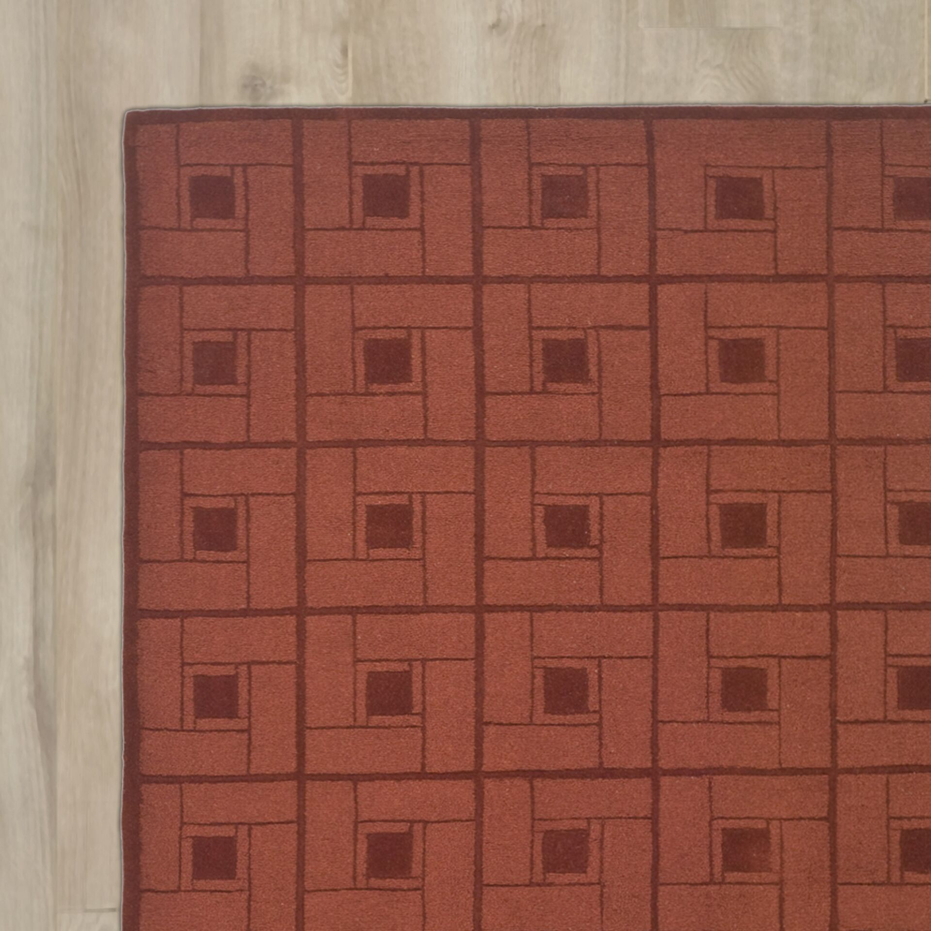Square Knot Hand-Loomed Vermillon Area Rug Rug Size: Round 8' x 8'