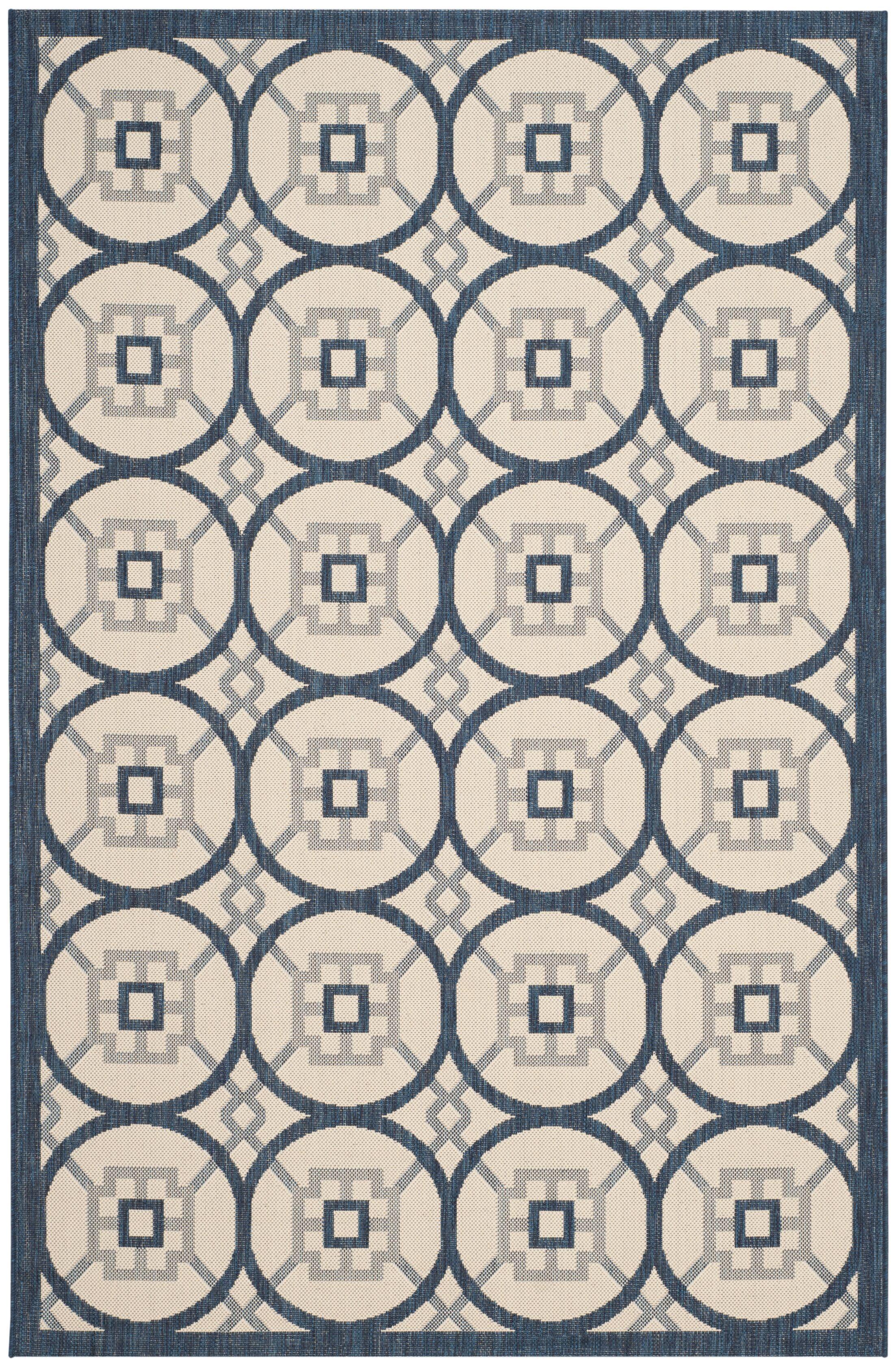 Raymond Beige/Navy Indoor/Outdoor Area Rug Rug Size: Rectangle 5'3