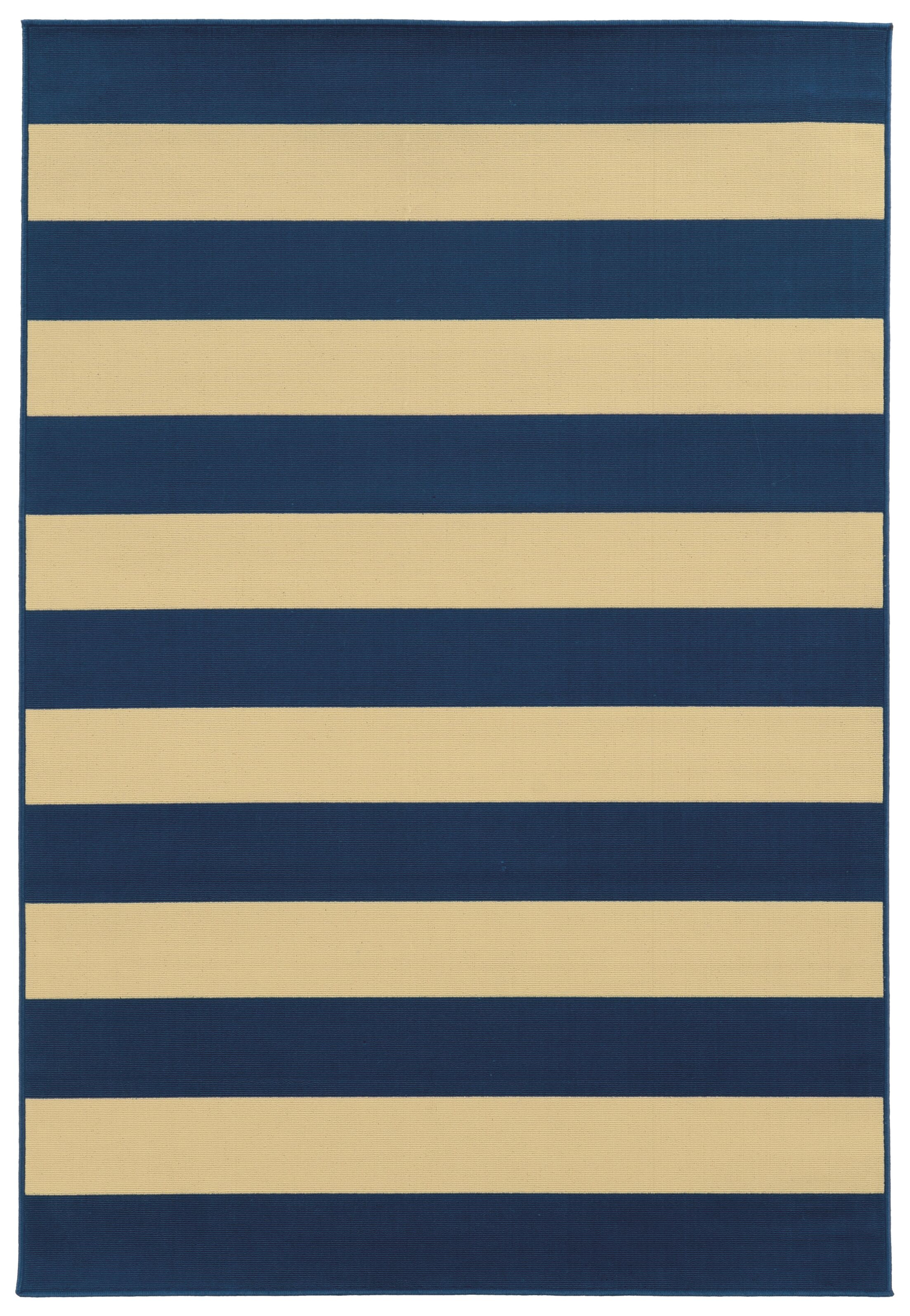 Alford Hand-Woven Dark Blue/Ivory Indoor/Outdoor Area Rug Rug Size: Rectangle 7'10