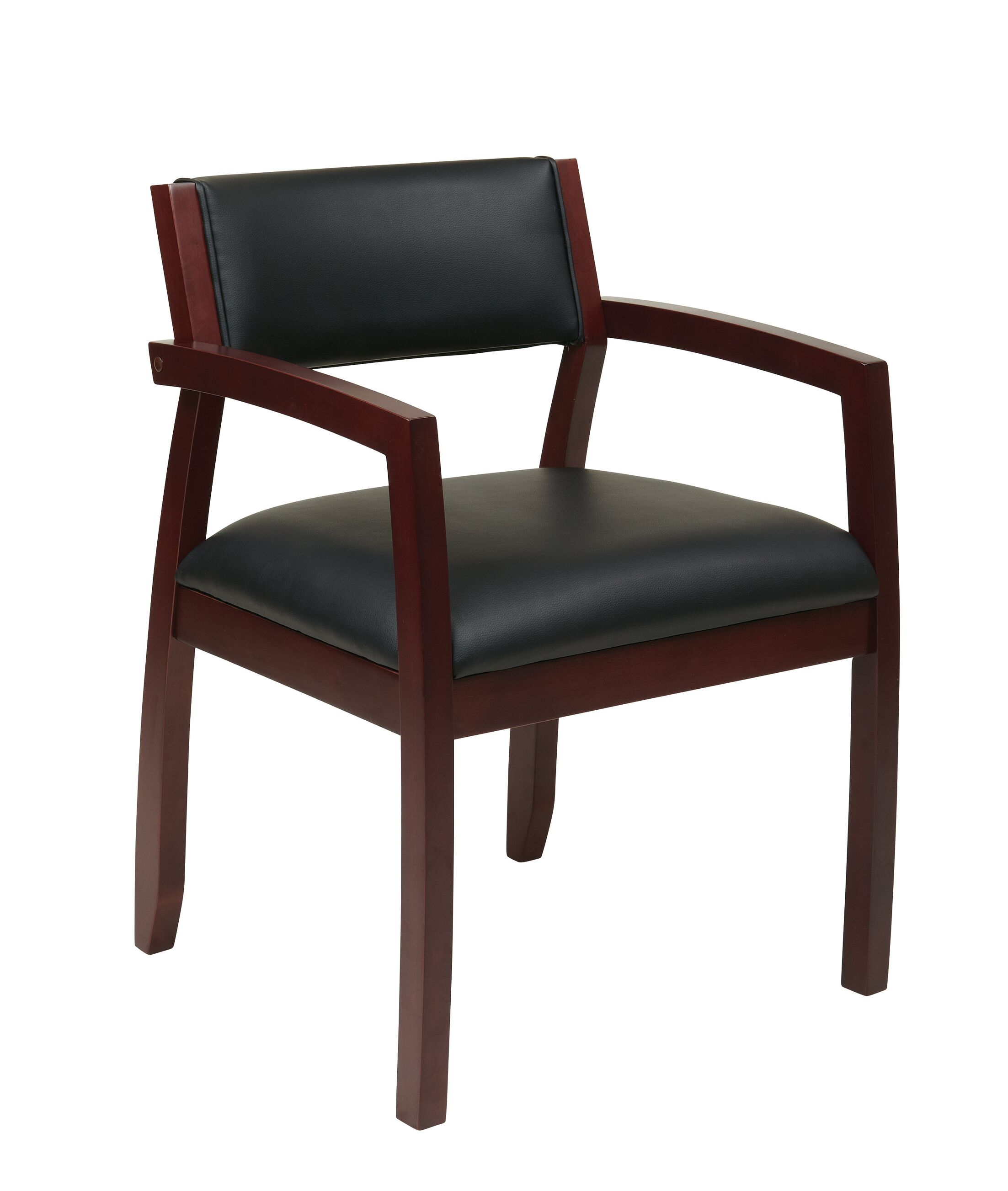 Roxanne Upholstered Back Leather Guest Chair Finish: Mahogany