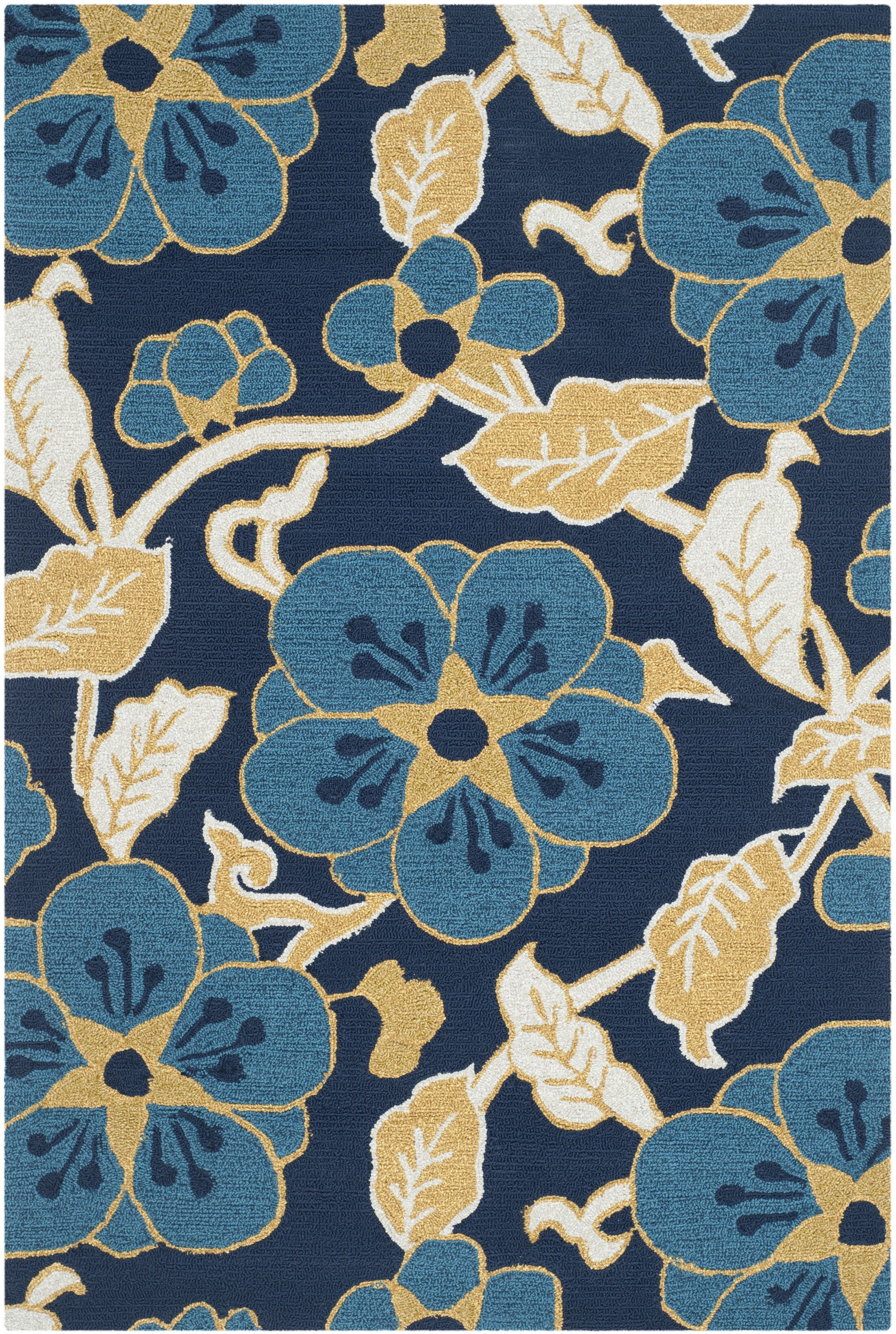 Doyle Navy/Yellow Floral and Plant Area Rug Rug Size: Rectangle 3'6