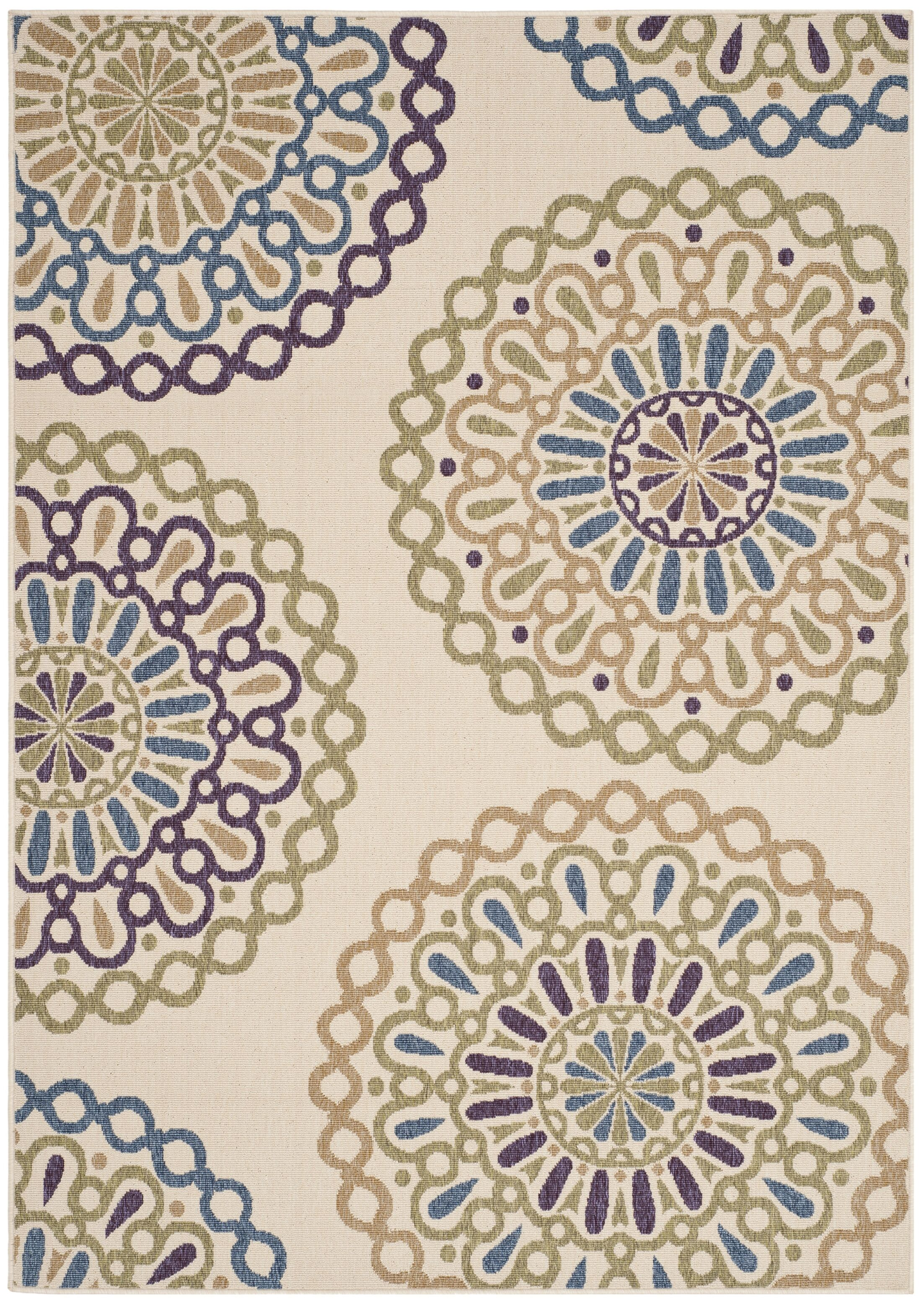 Tierney Cream & Green Outdoor Area Rug Rug Size: Rectangle 8' x 11'2