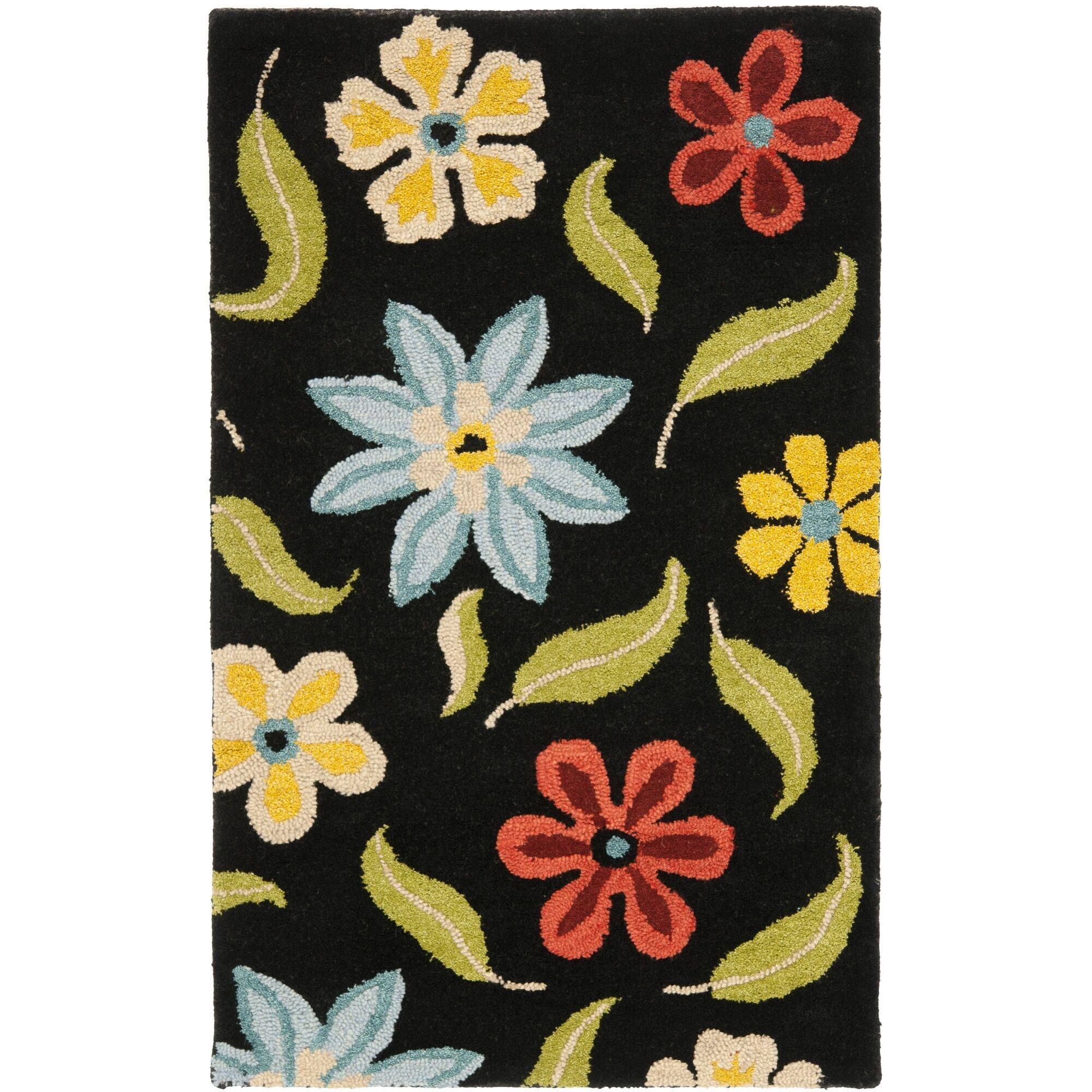 Ross Black Floral Area Rug Rug Size: Rectangle 8' x 10'