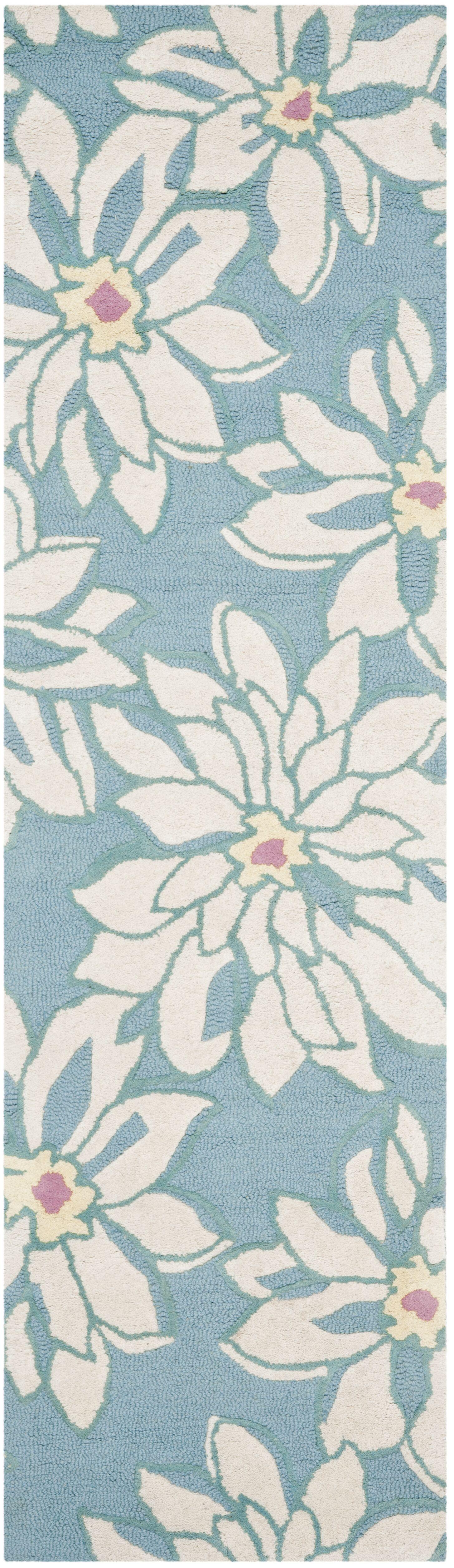 Ross Light Blue/Ivory Floral Area Rug Rug Size: Runner 2'3