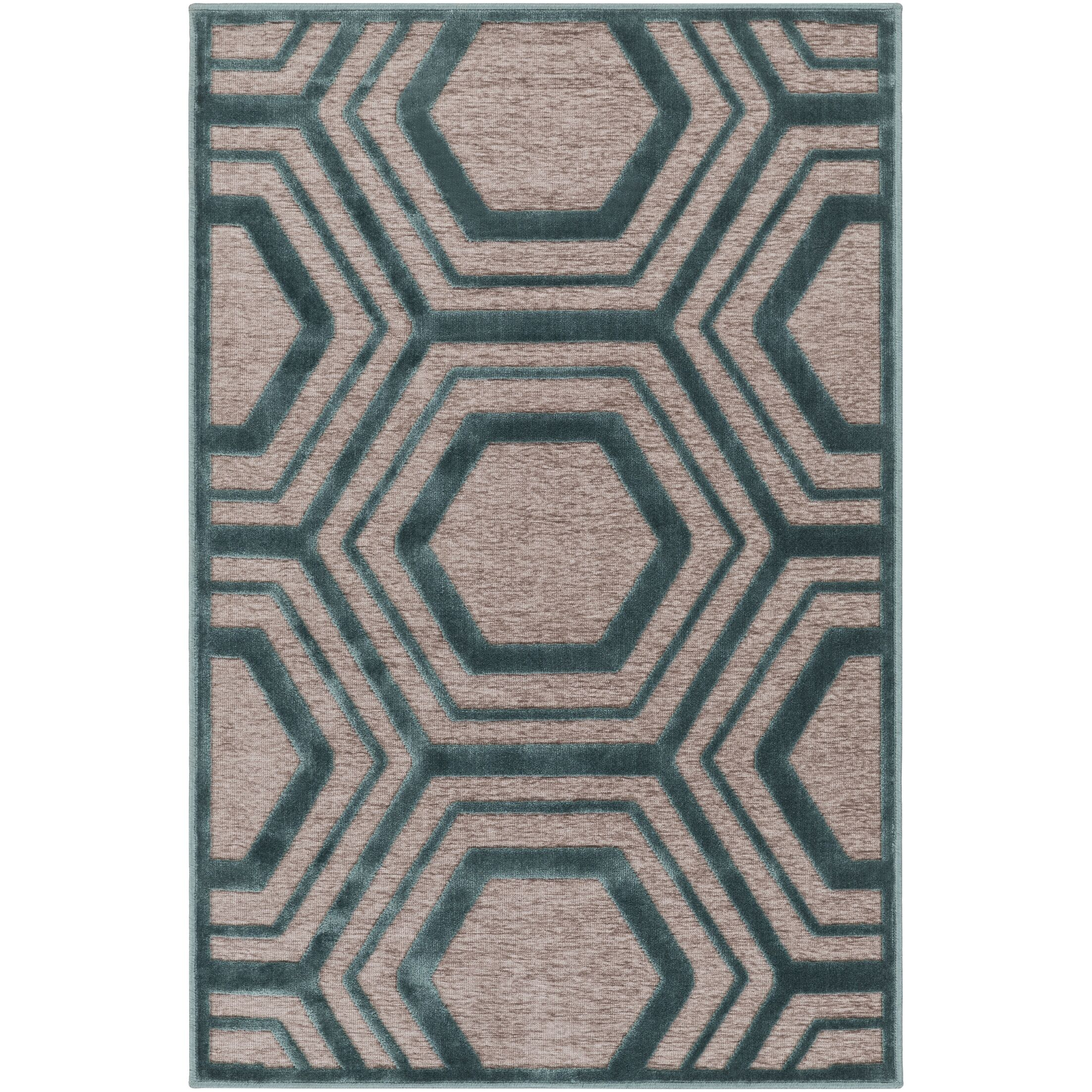 Springdale Green/Brown Area Rug Rug Size: Rectangle 5'2