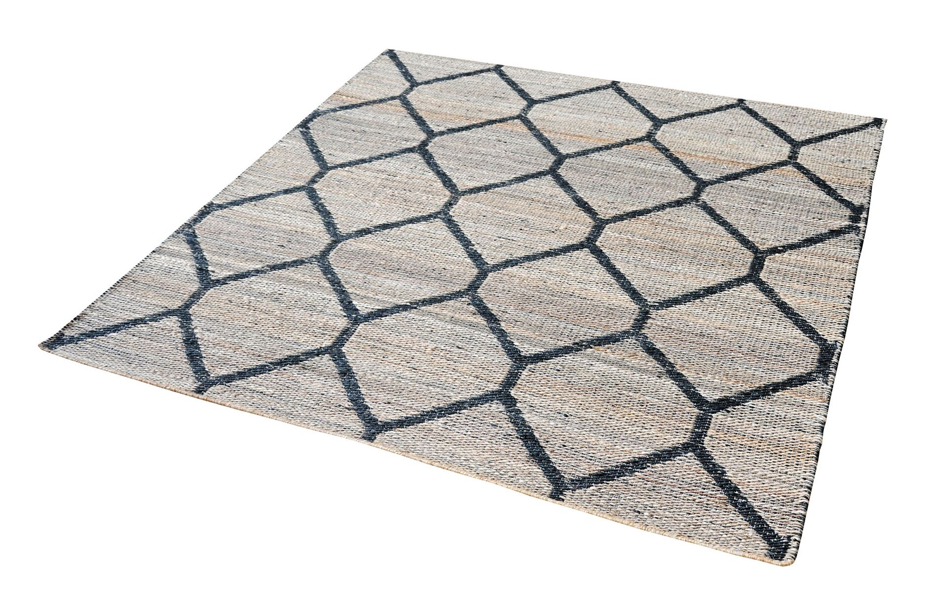 Royersford Hand-Loomed Natural/Black Area Rug Rug Size: Rectangle 3' x 5'