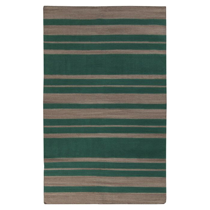 Kramer Emerald Green & Silver Cloud Striped Area Rug Rug Size: Rectangle 5' x 8'