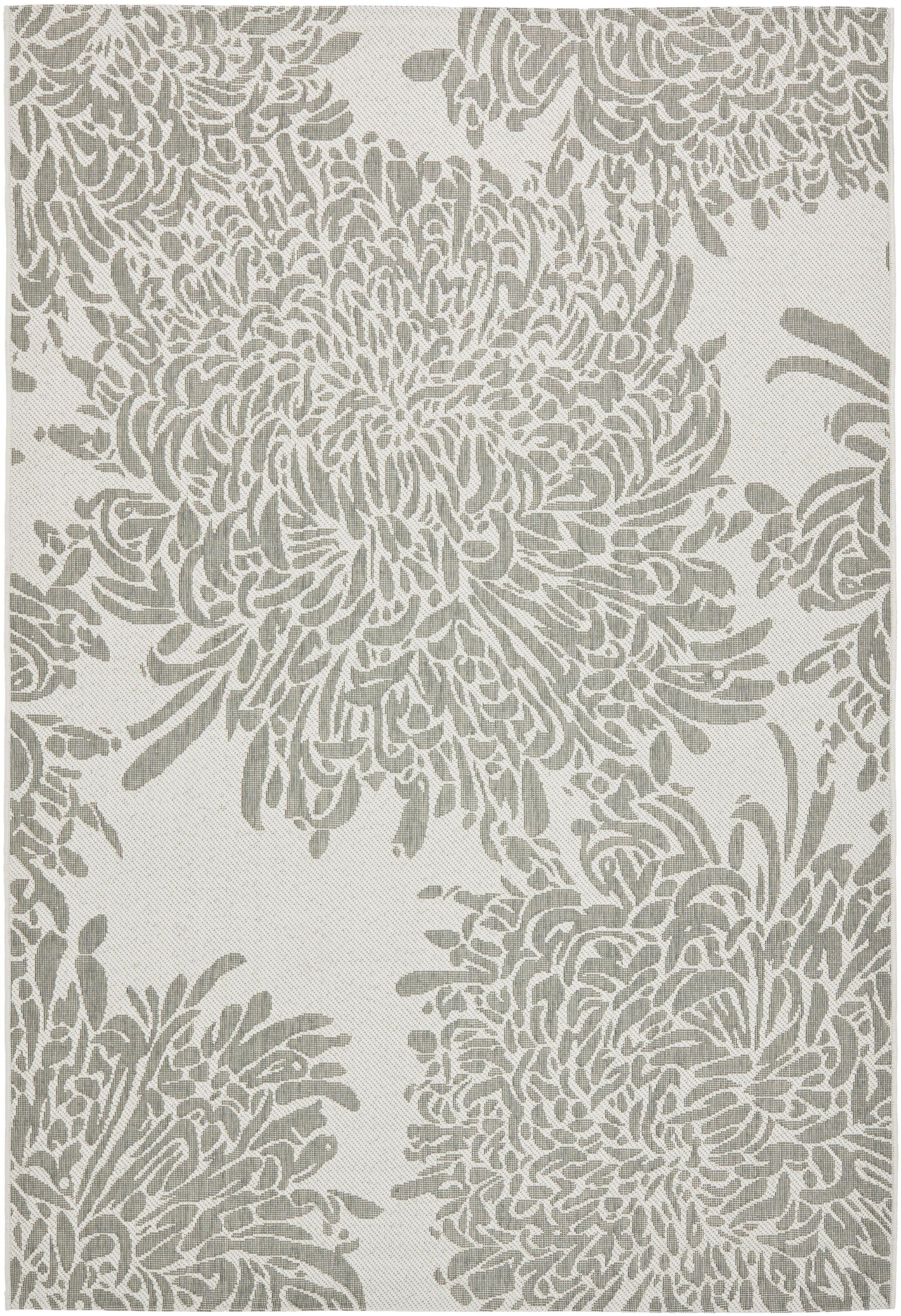 Chrysanthemum Gray Area Rug Rug Size: Rectangle 4' x 5'7