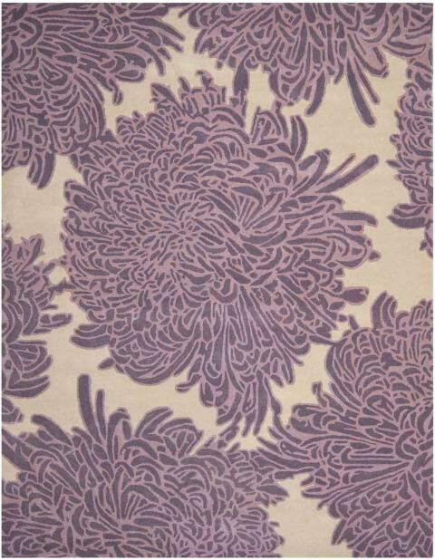 Chrysanthemum Tufted-Hand-Loomed Purple/Beige Area Rug Rug Size: Round 8'