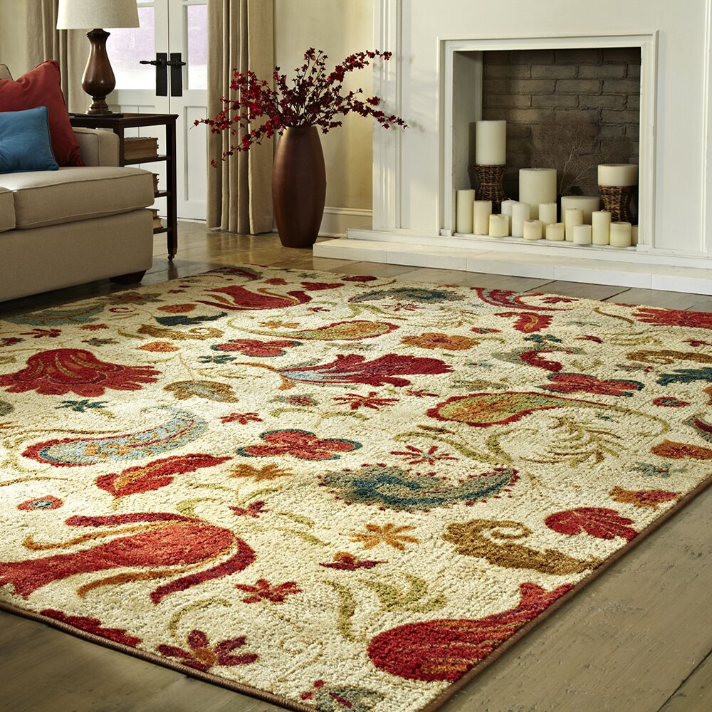 Virginia Beige/Red Area Rug Rug Size: Rectangle 6' x 9'