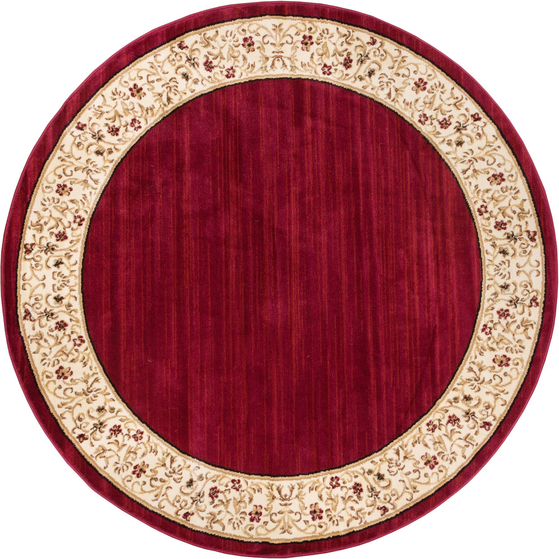 Dorothea Red Wine Floral Border Area Rug Rug Size: Round 5'3