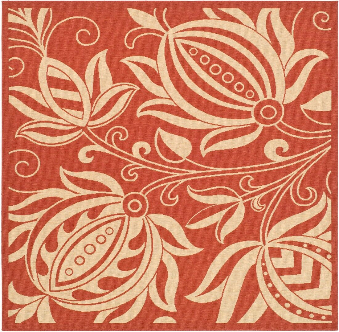 Short Red/Natural Area Rug Rug Size: Square 6'7