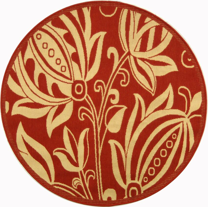Short Red/Natural Area Rug Rug Size: Round 6'7