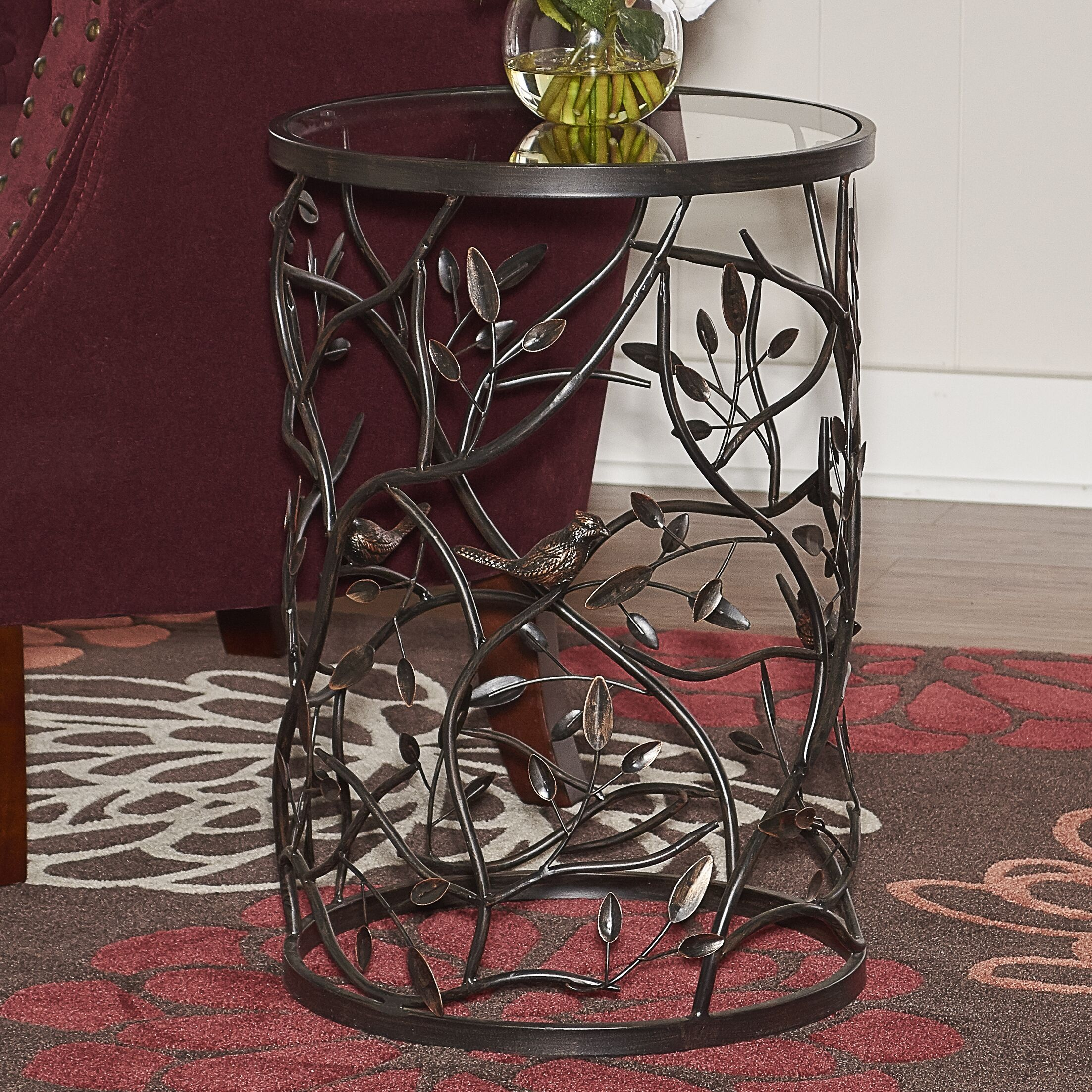 Perley Bird and Branch End Table