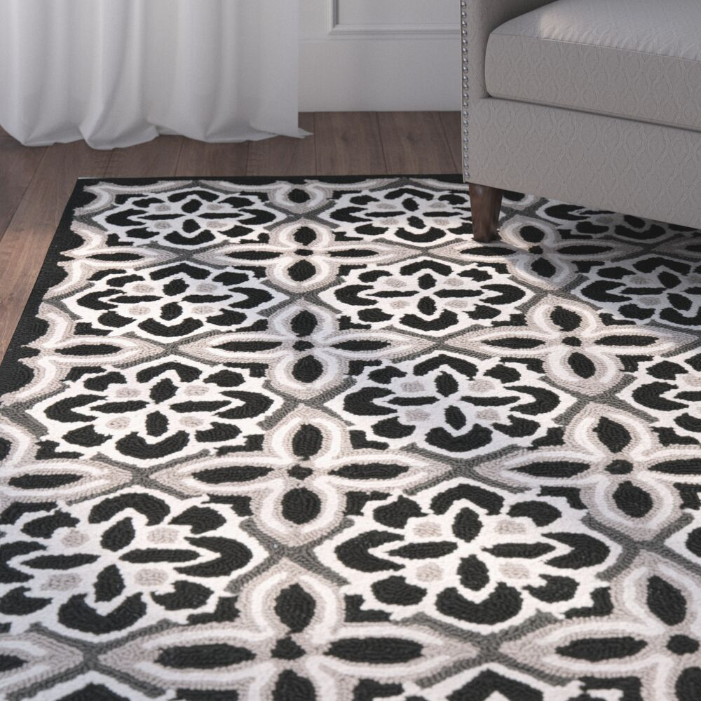 Doyle Black/Ivory Outdoor Area Rug Rug Size: Rectangle 3'6