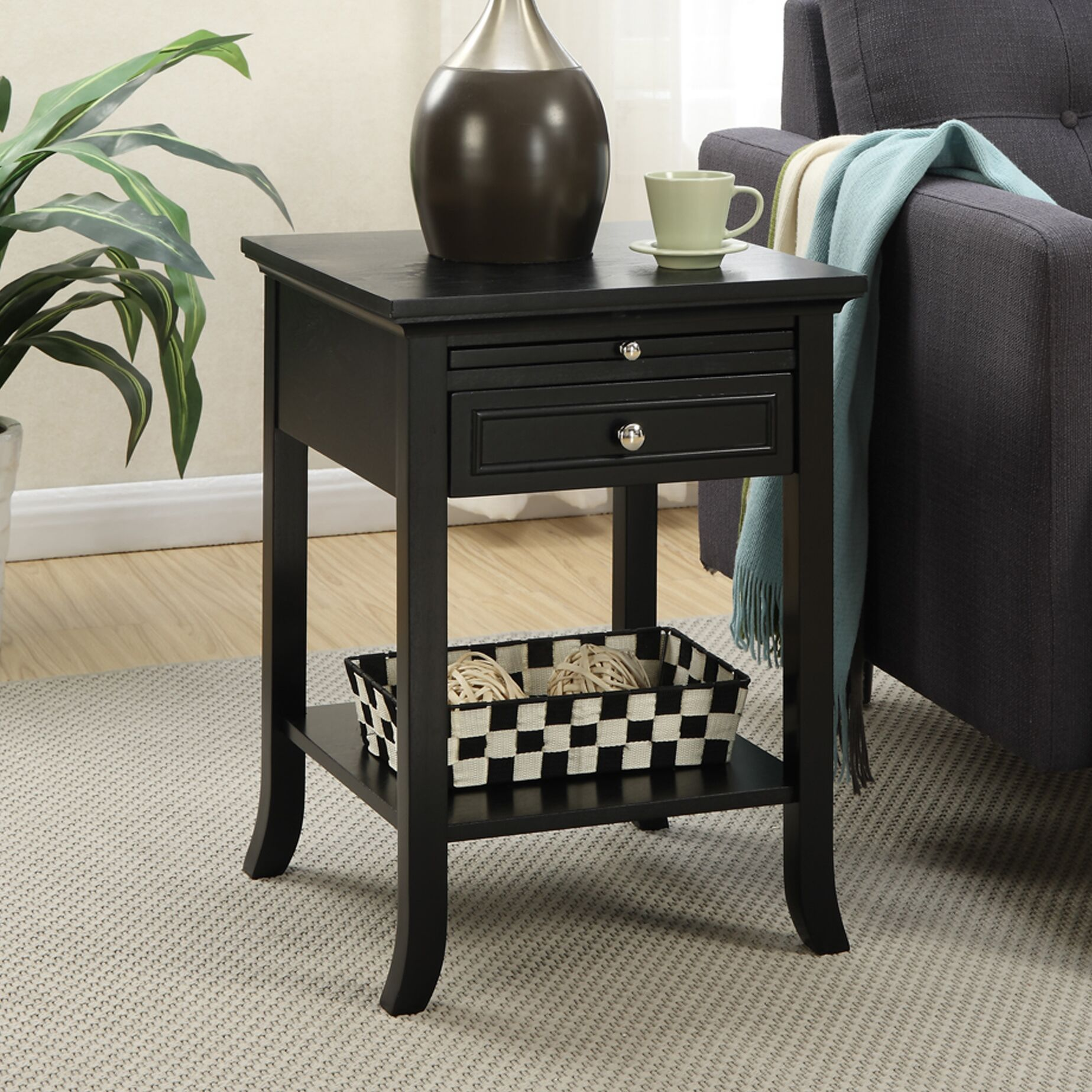 End Table With Storage Table Top Color: Cherry, Table Base Color: Cherry
