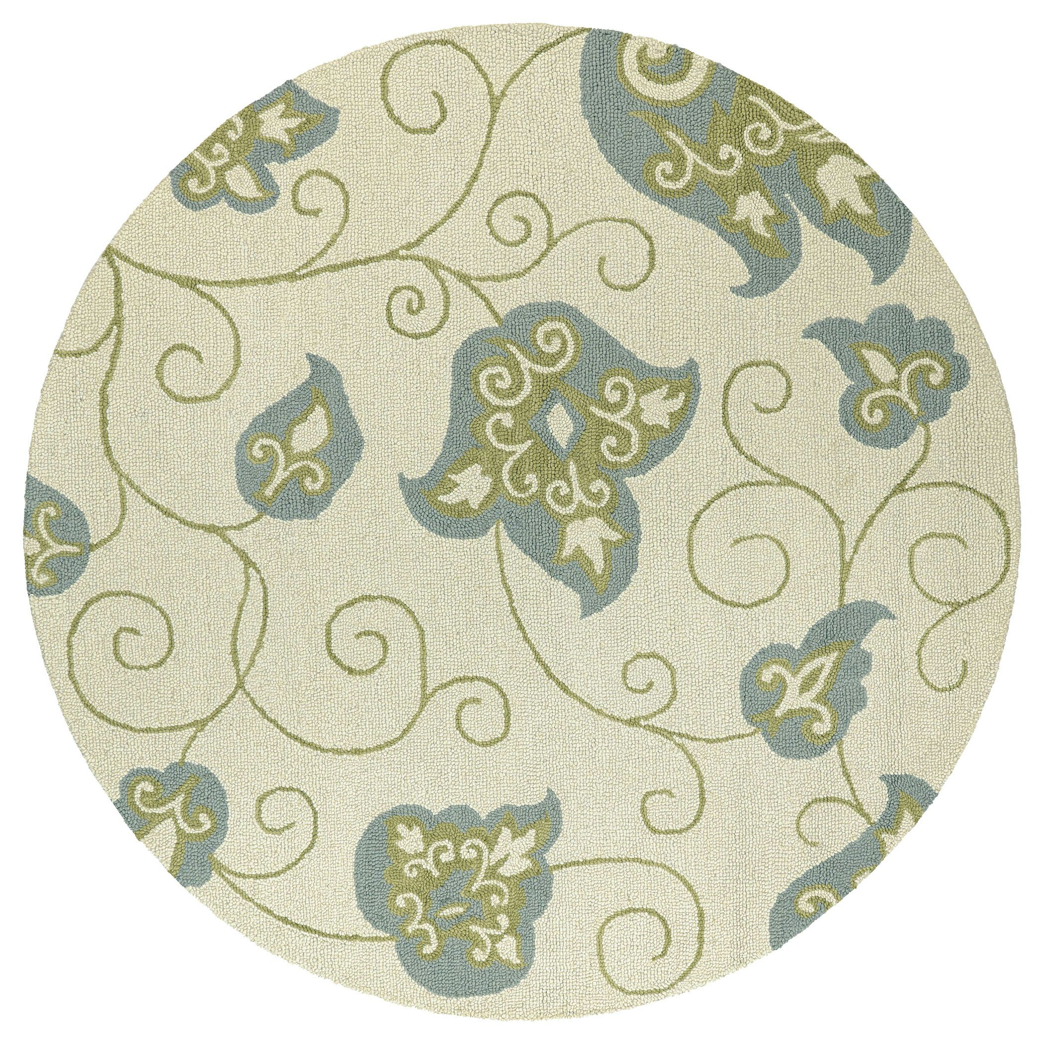 Pearson Handmade Ivory and Gray Area Rug Rug Size: Round 7'9
