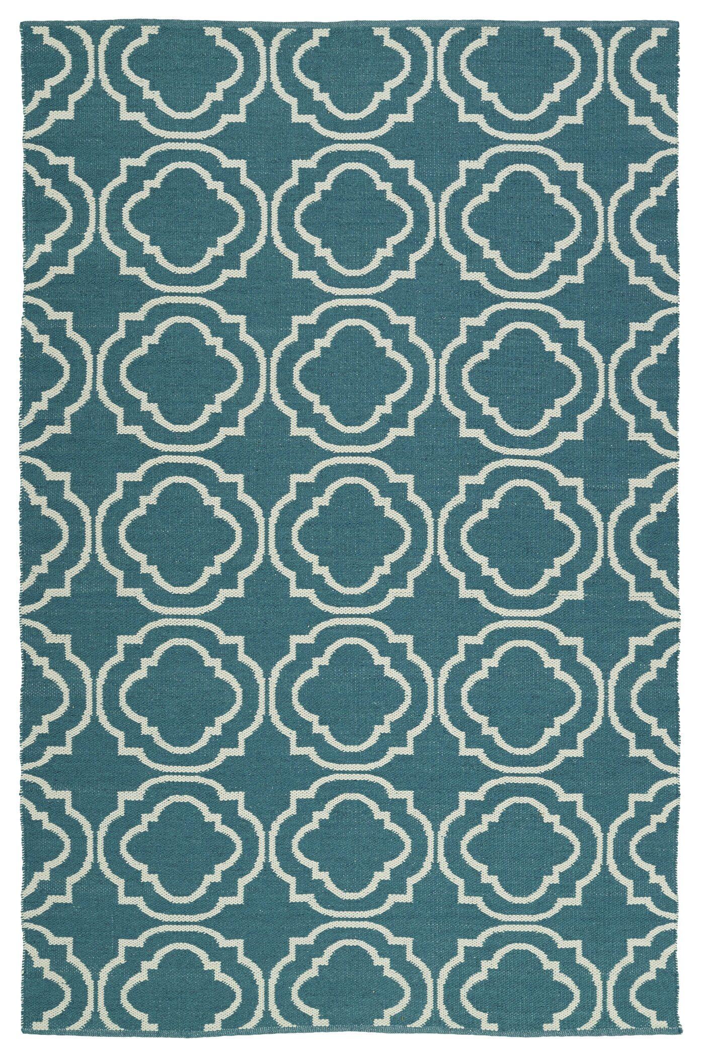 Tyesha Teal & Cream Indoor/Outdoor Area Rug Rug Size: Rectangle 8' x 10'