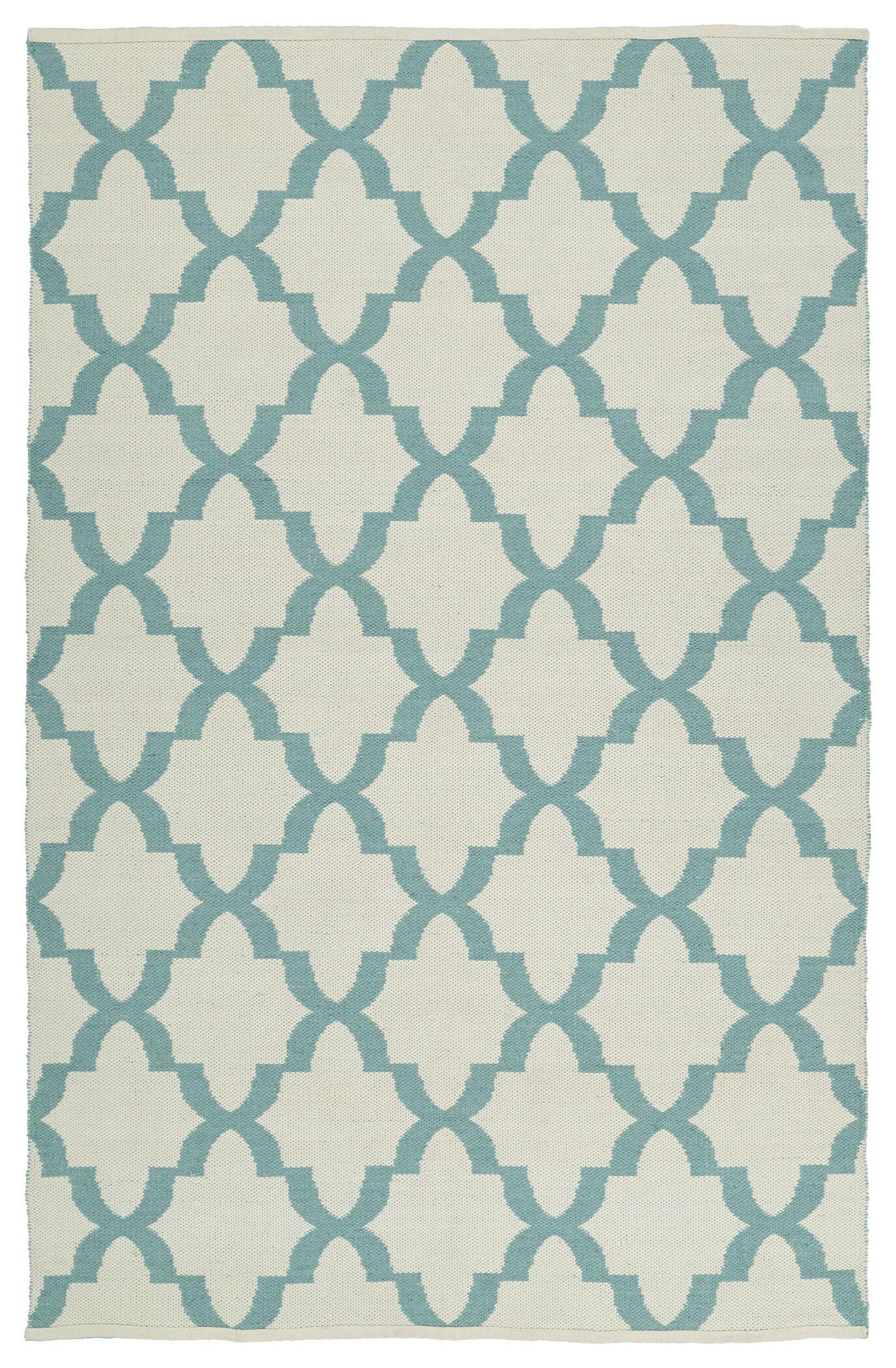 Tyesha Seafoam/Cream Indoor/Outdoor Area Rug Rug Size: Rectangle 9' x 12'