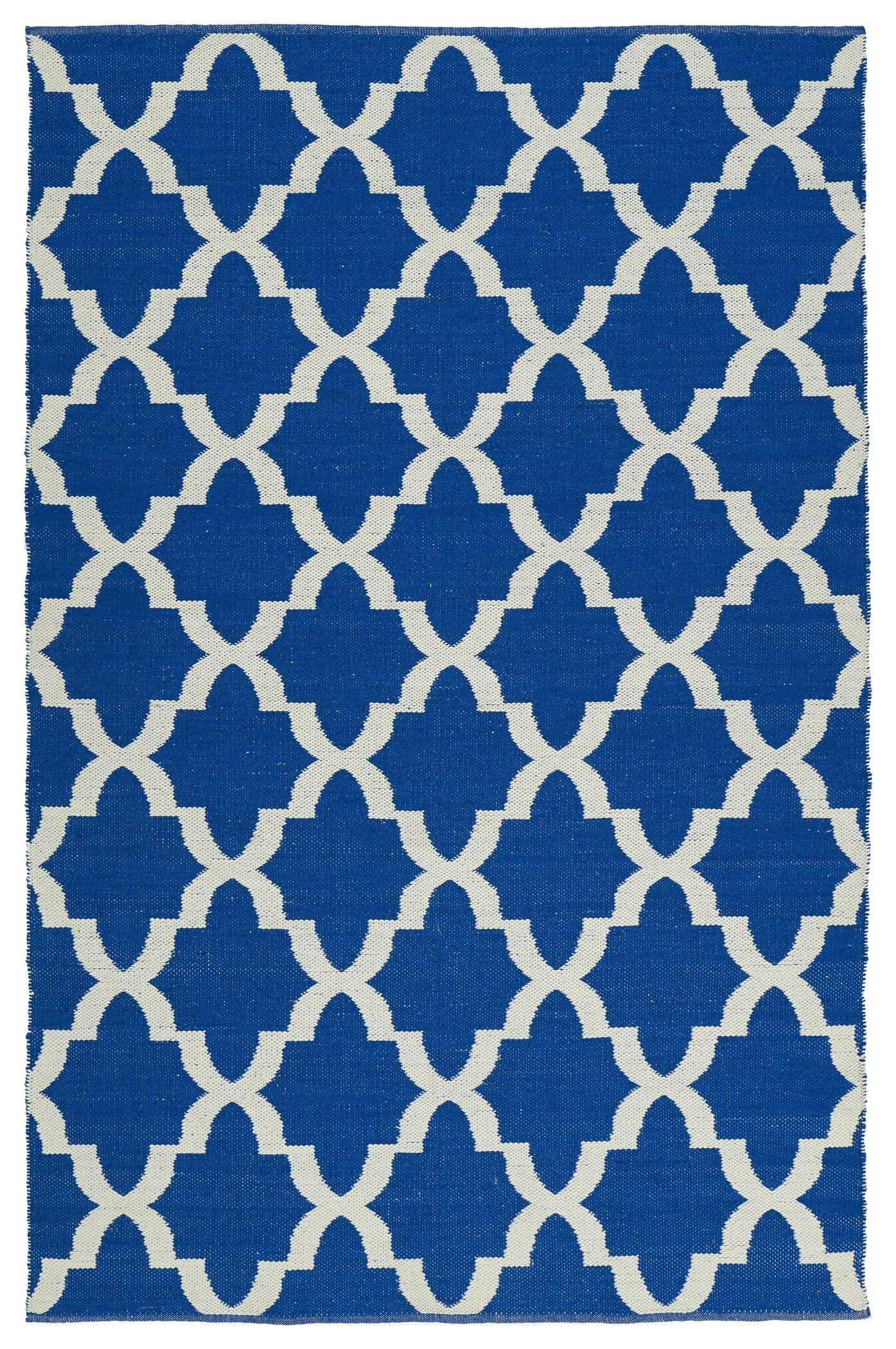 Tyesha Navy/Cream Indoor/Outdoor Area Rug Rug Size: Rectangle 9' x 12'