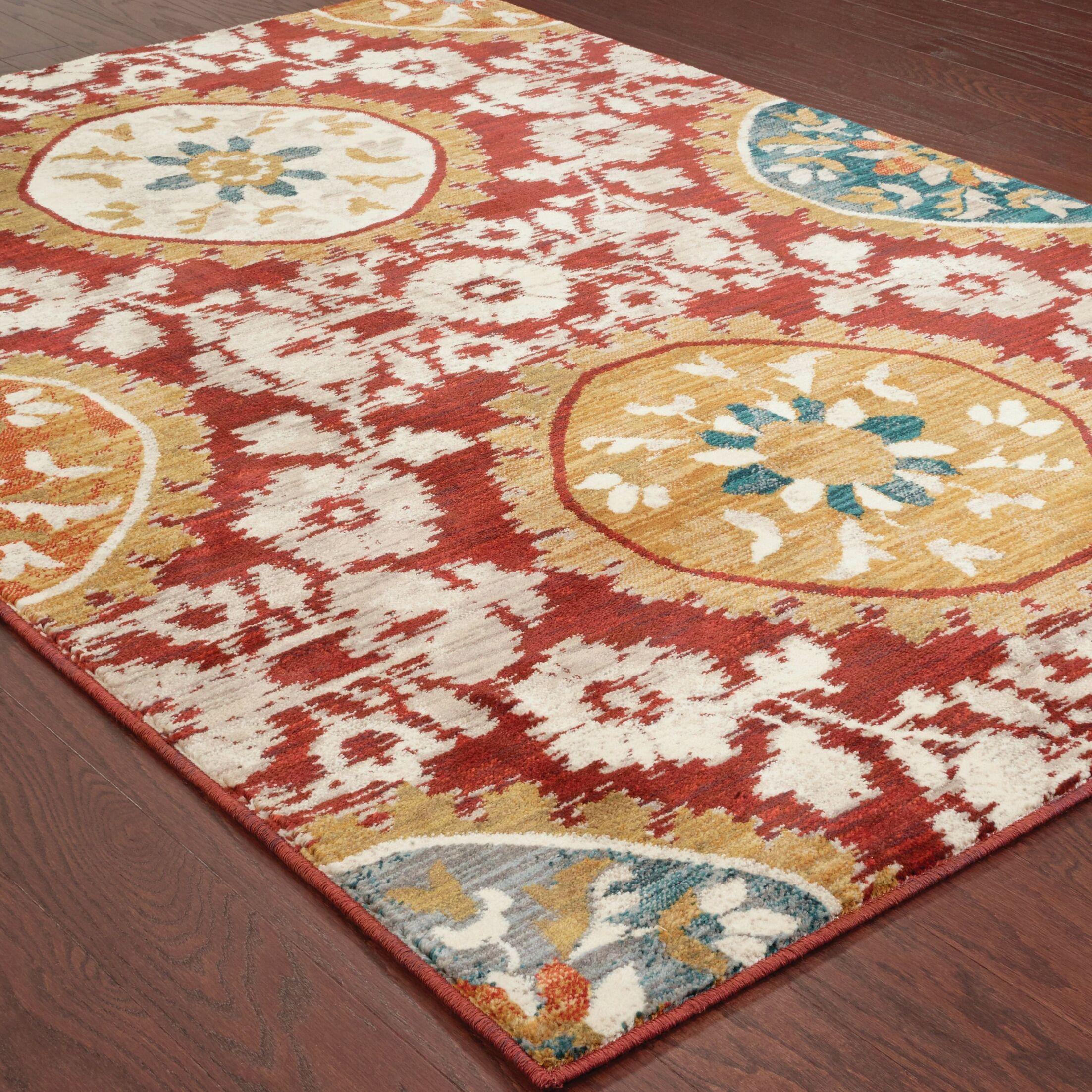Herring Red/Gold Area Rug Rug Size: Rectangle 5'3