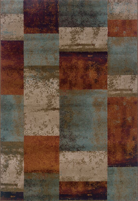 Carter Blue/Orange Area Rug Rug Size: Rectangle 3'10