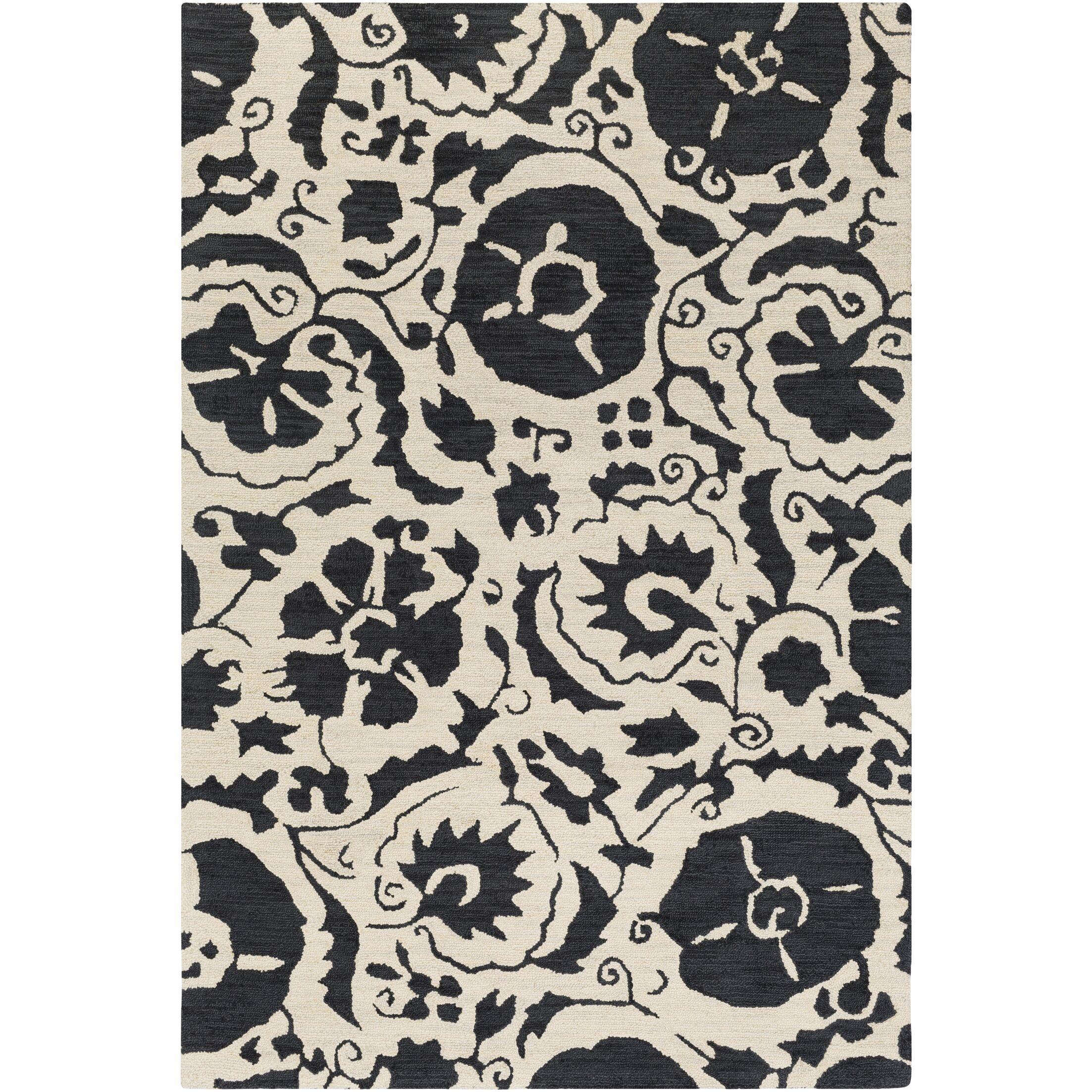 Julie Hand-Tufted Black/Cream Area Rug Rug Size: Rectangle 5' x 7'6