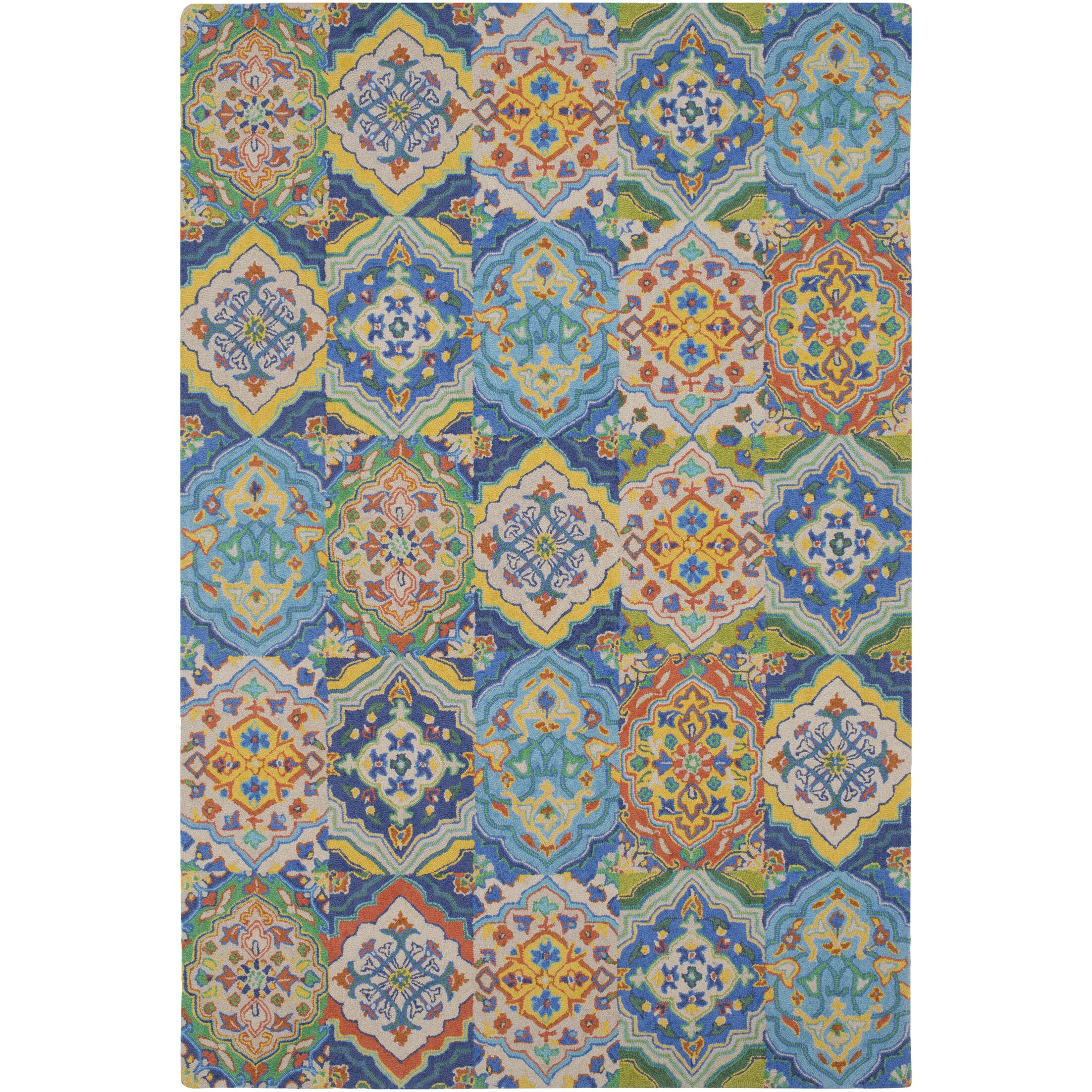 Johannsen Hand-Tufted Khaki/Dark Blue Area Rug Rug Size: Rectangle 2' x 3'