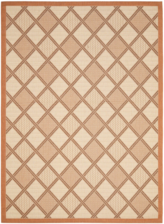 Short Cream / Terracotta Indoor/Outdoor Tile Rug Rug Size: Rectangle 5'3