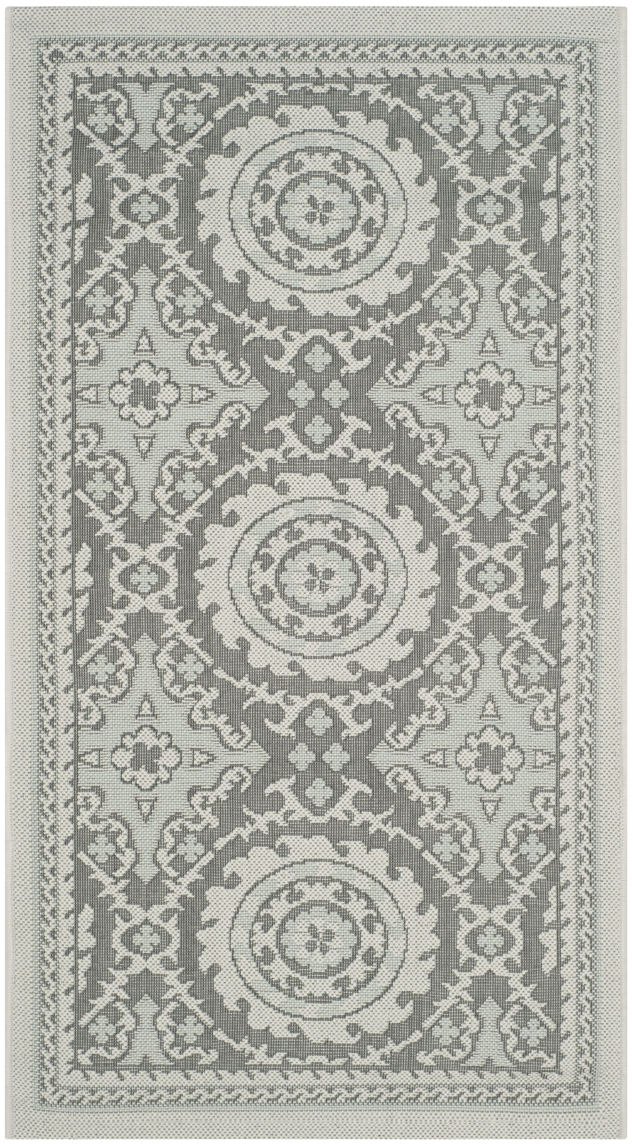 Short Anthracite/Light Indoor/Outdoor Grey Area Rug Rug Size: Rectangle 5'3