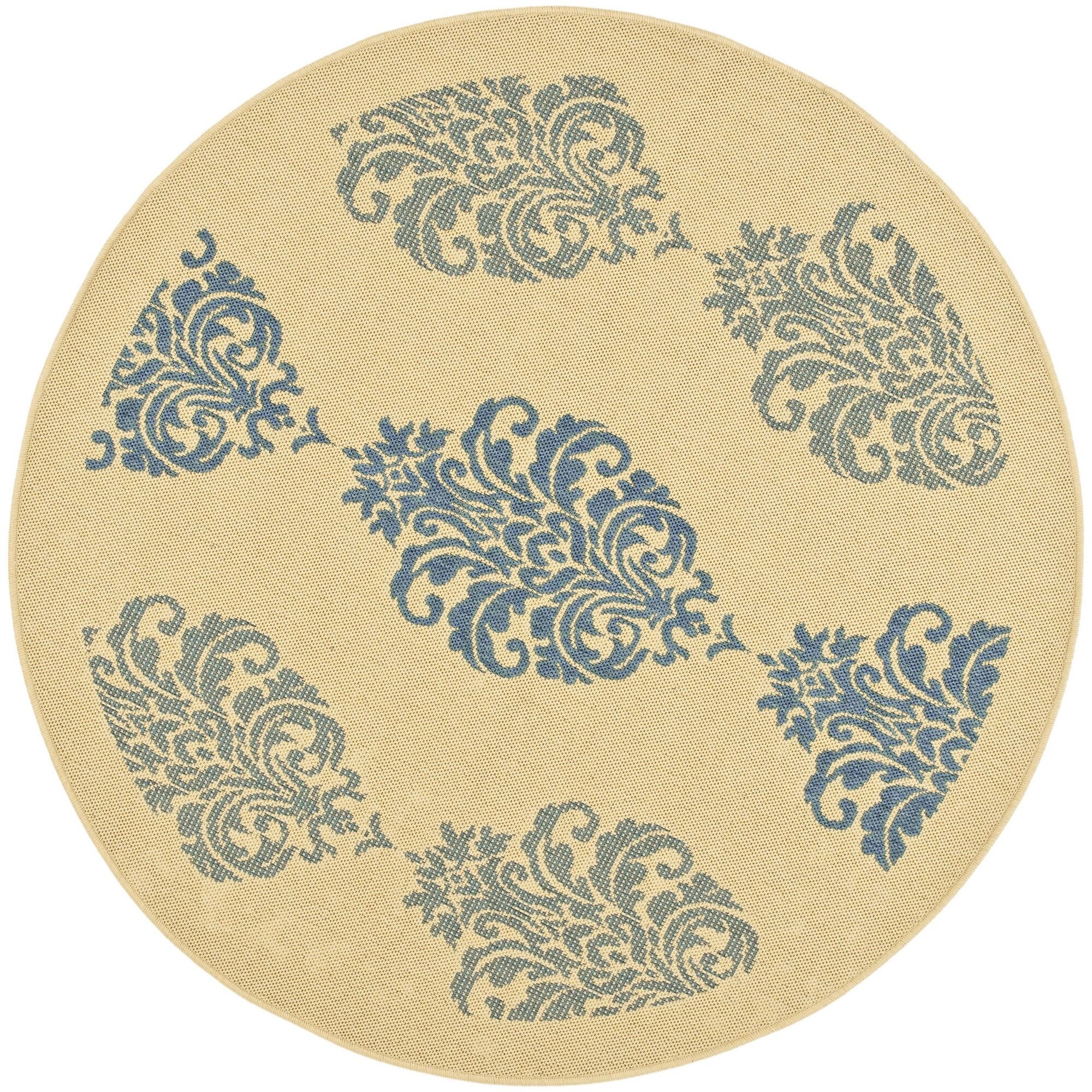 Short Natural / Blue Outdoor Area Rug Rug Size: Round 6'7