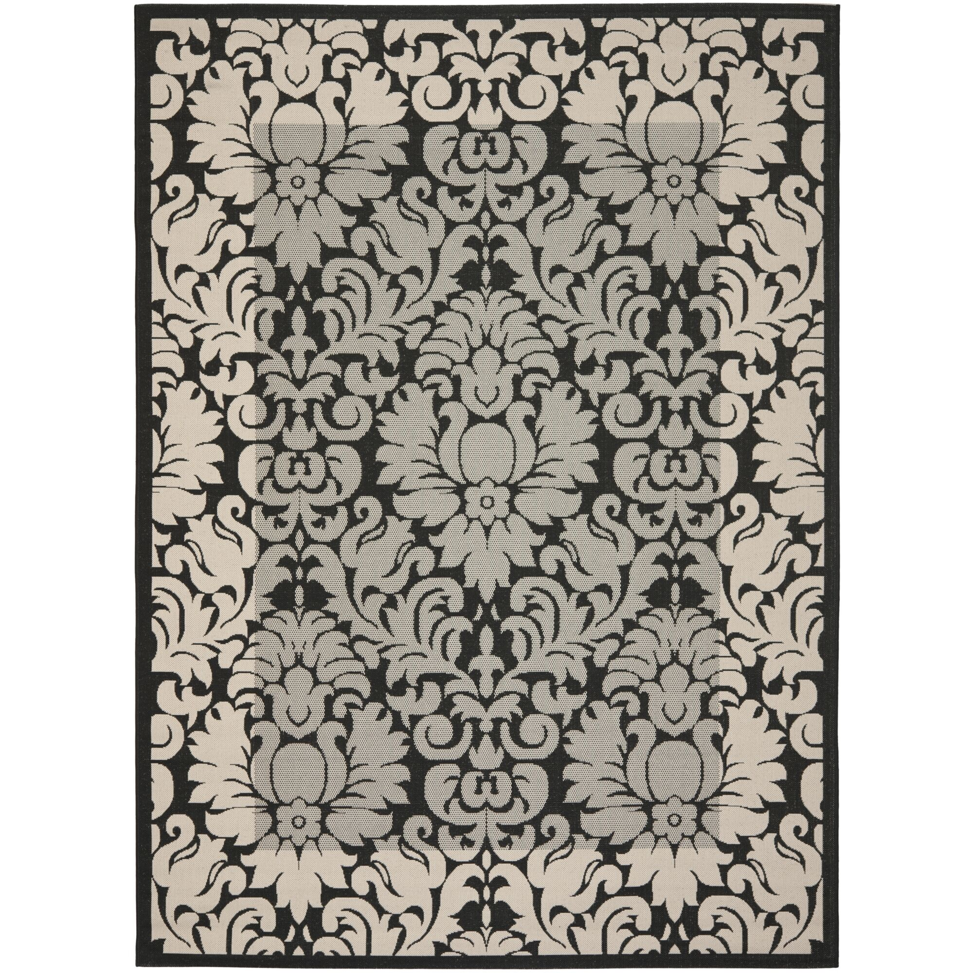 Short Black / Sand Outdoor Area Rug Rug Size: Rectangle 2' x 3'7
