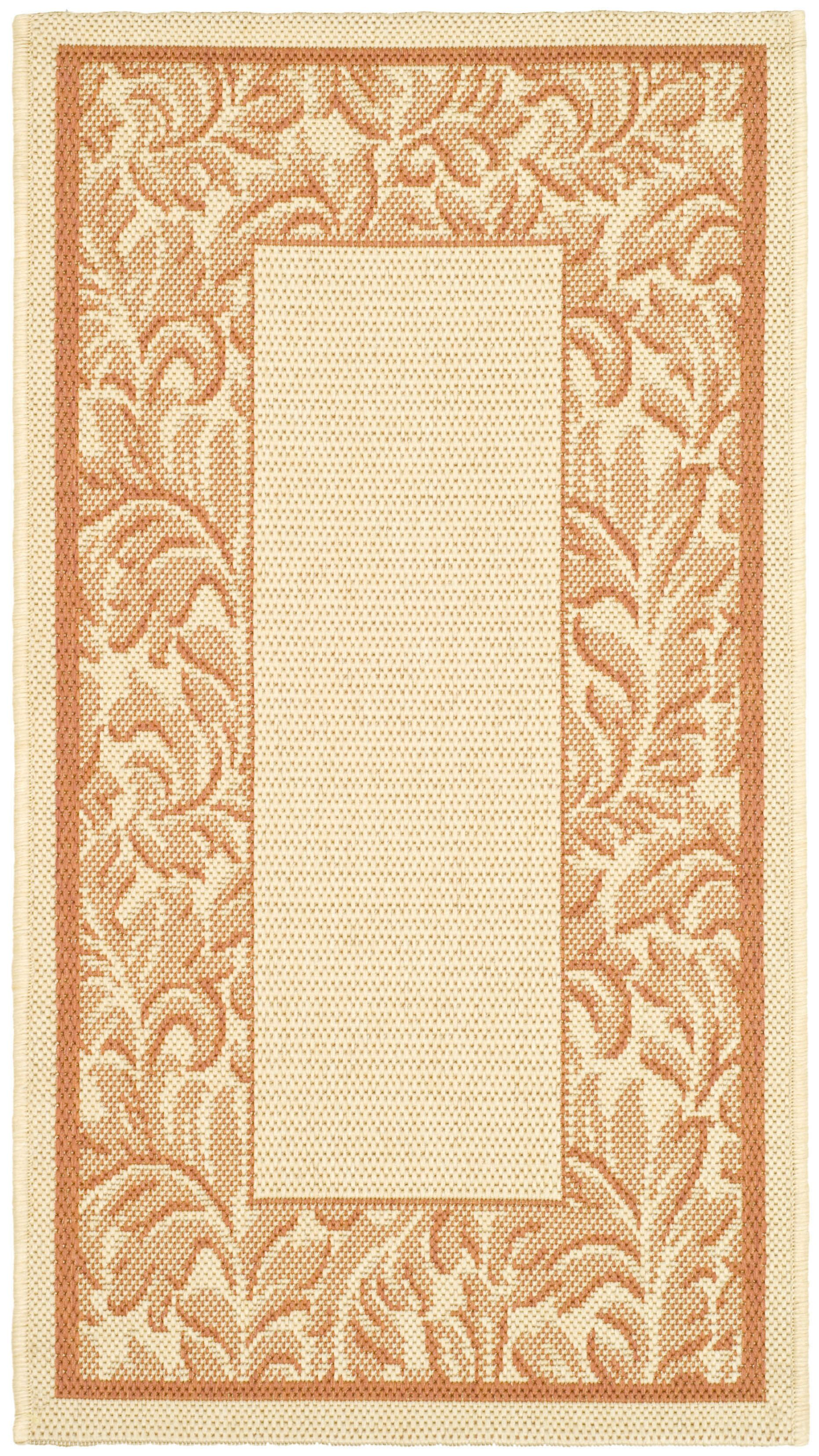 Short Terracotta/Natural Outdoor Rug Rug Size: Rectangle 8' x 11'