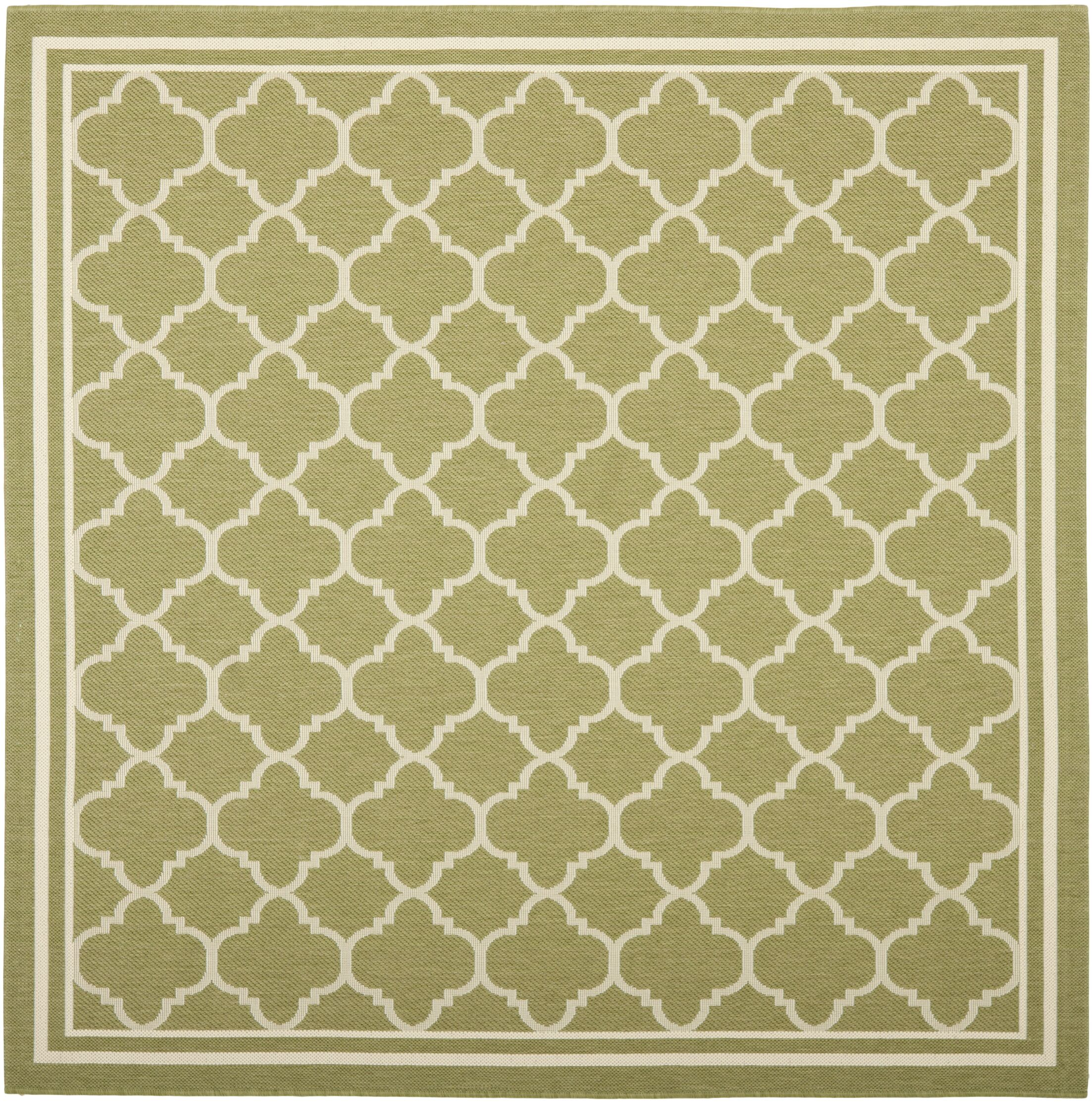 Short Green/Beige Indoor/Outdoor Area Rug Rug Size: Square 7'10