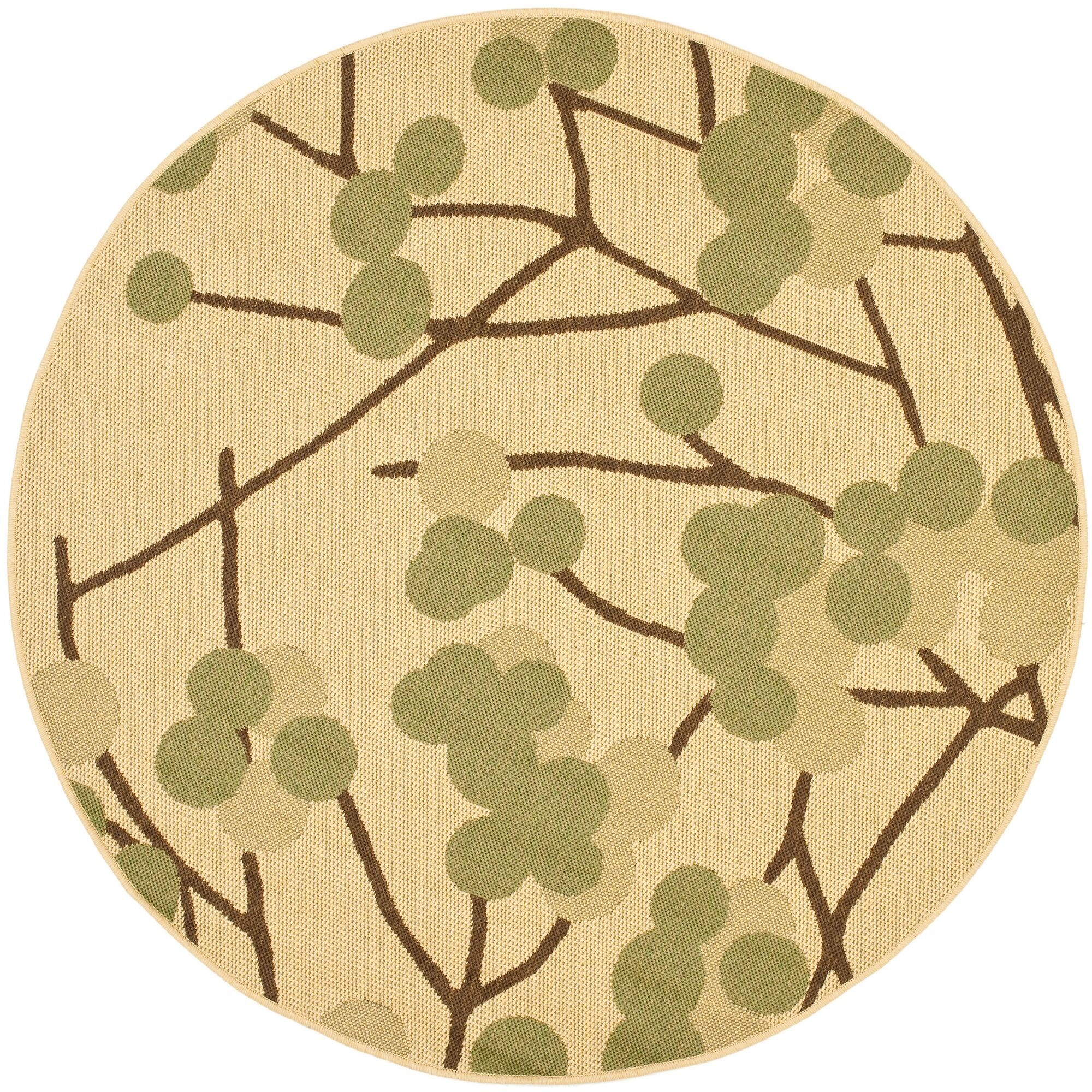 Short Natural Accent Brown / Olive Contemporary Rug Rug Size: Round 5'3