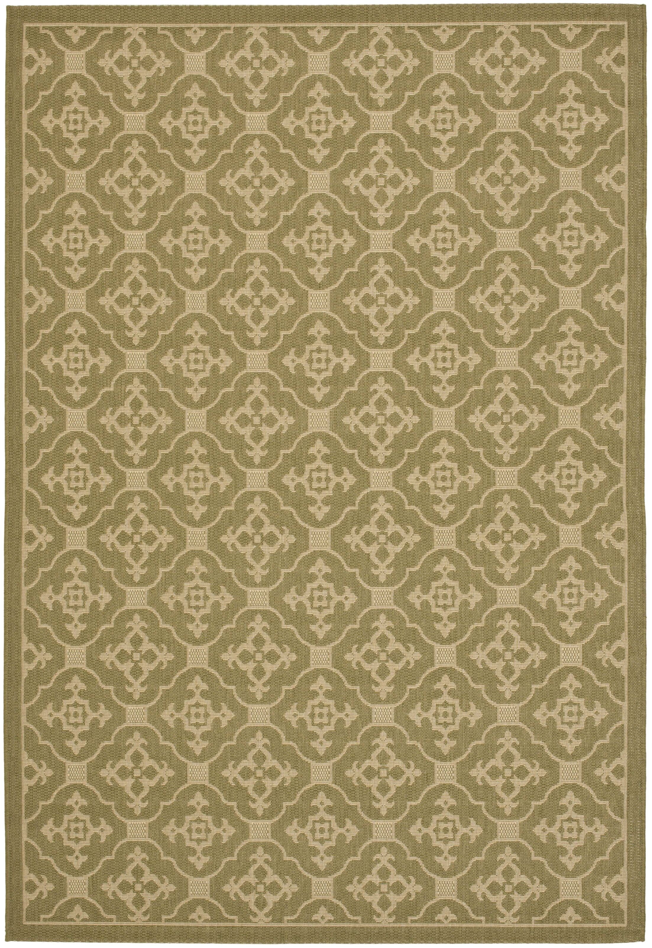 Short Olive / Creme Outdoor Area Rug Rug Size: Rectangle 5'3