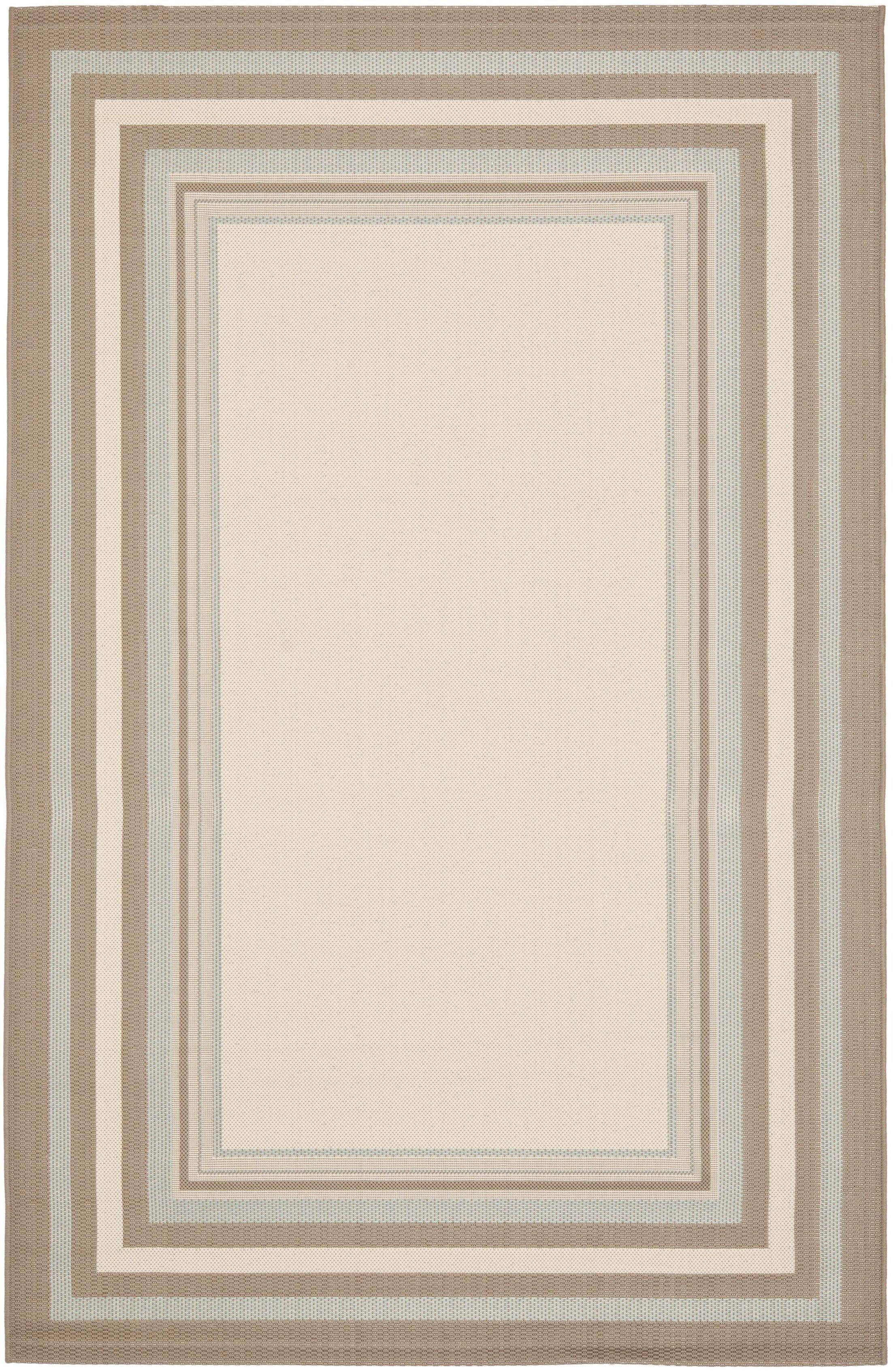 Short Beige / Blue Indoor/Outdoor Rug Rug Size: Rectangle 8' x 11'2