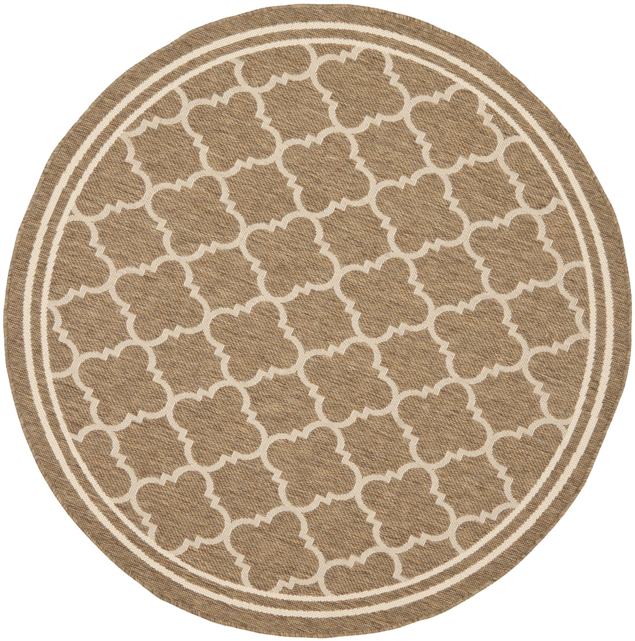 Short Brown/Bone Outdoor Area Rug Rug Size: Round 5'3