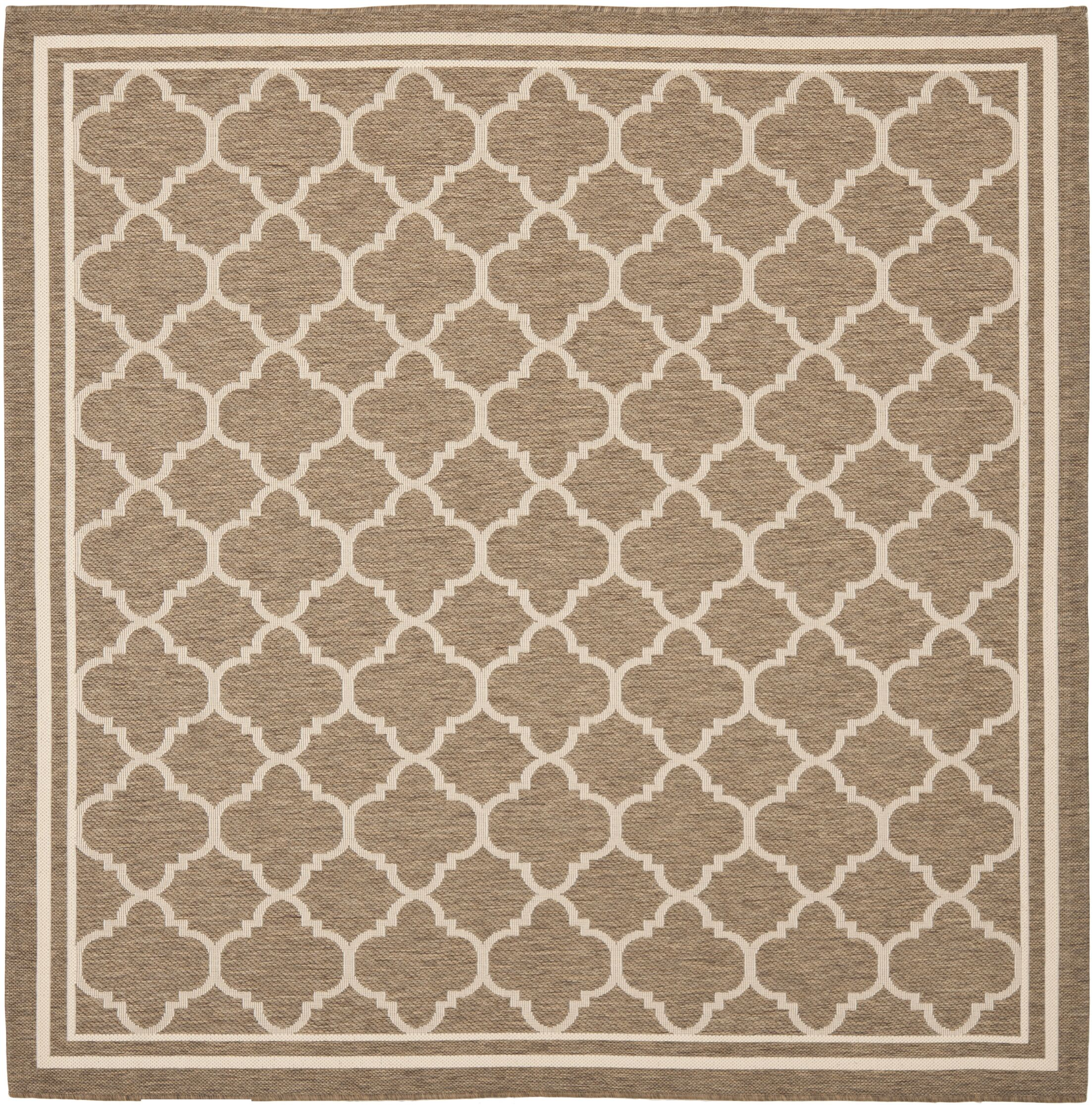 Short Brown/Bone Outdoor Area Rug Rug Size: Square 6'7